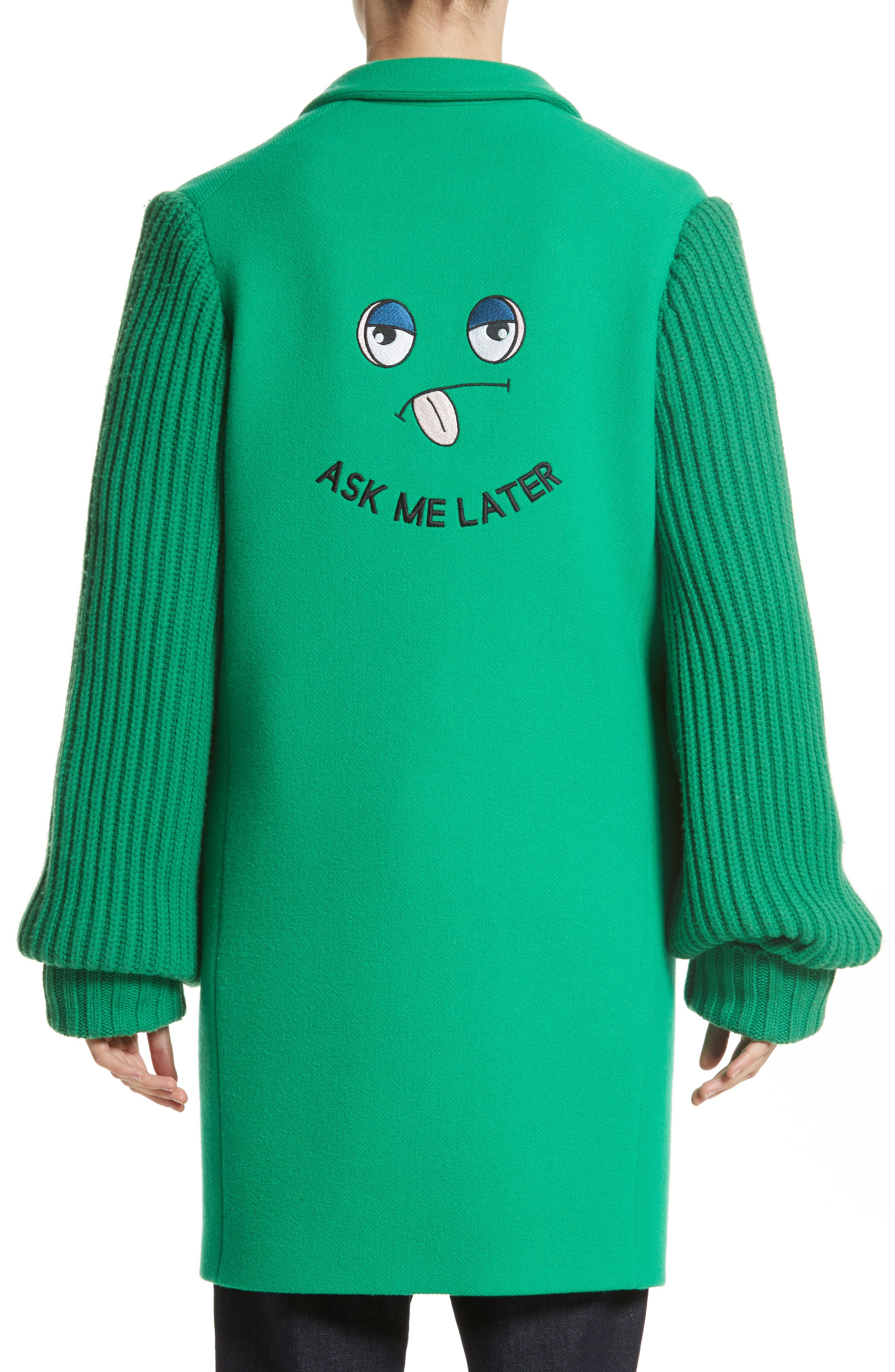 Alternate Image 2  - Mira Mikati Ask Me Later Embroidered Knit Sleeve Coat
