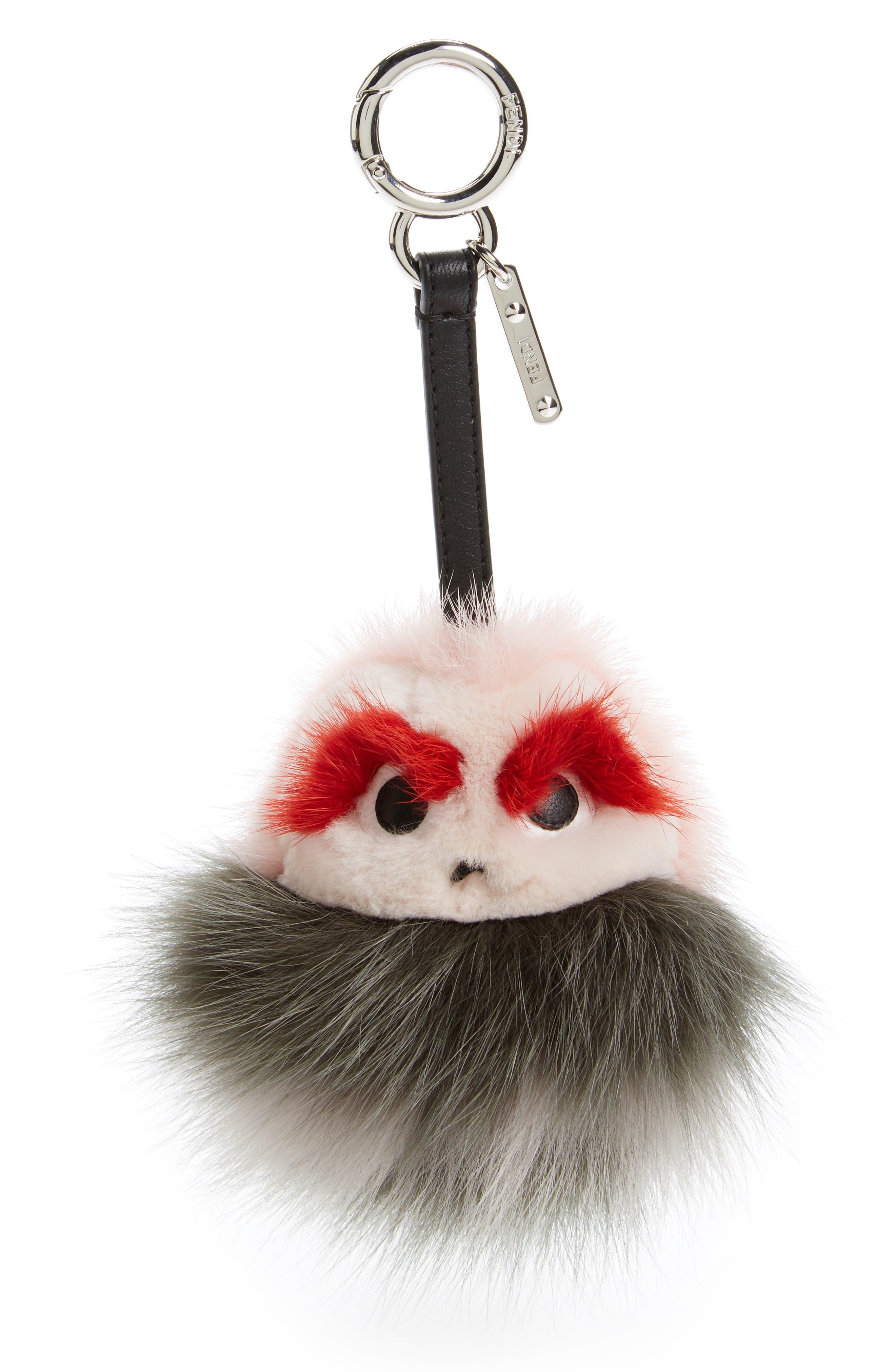Bugs Genuine Mink Fur & Genuine Fox Fur Bag Charm,                         Main,                         color, Princess/Green Grass/Multi