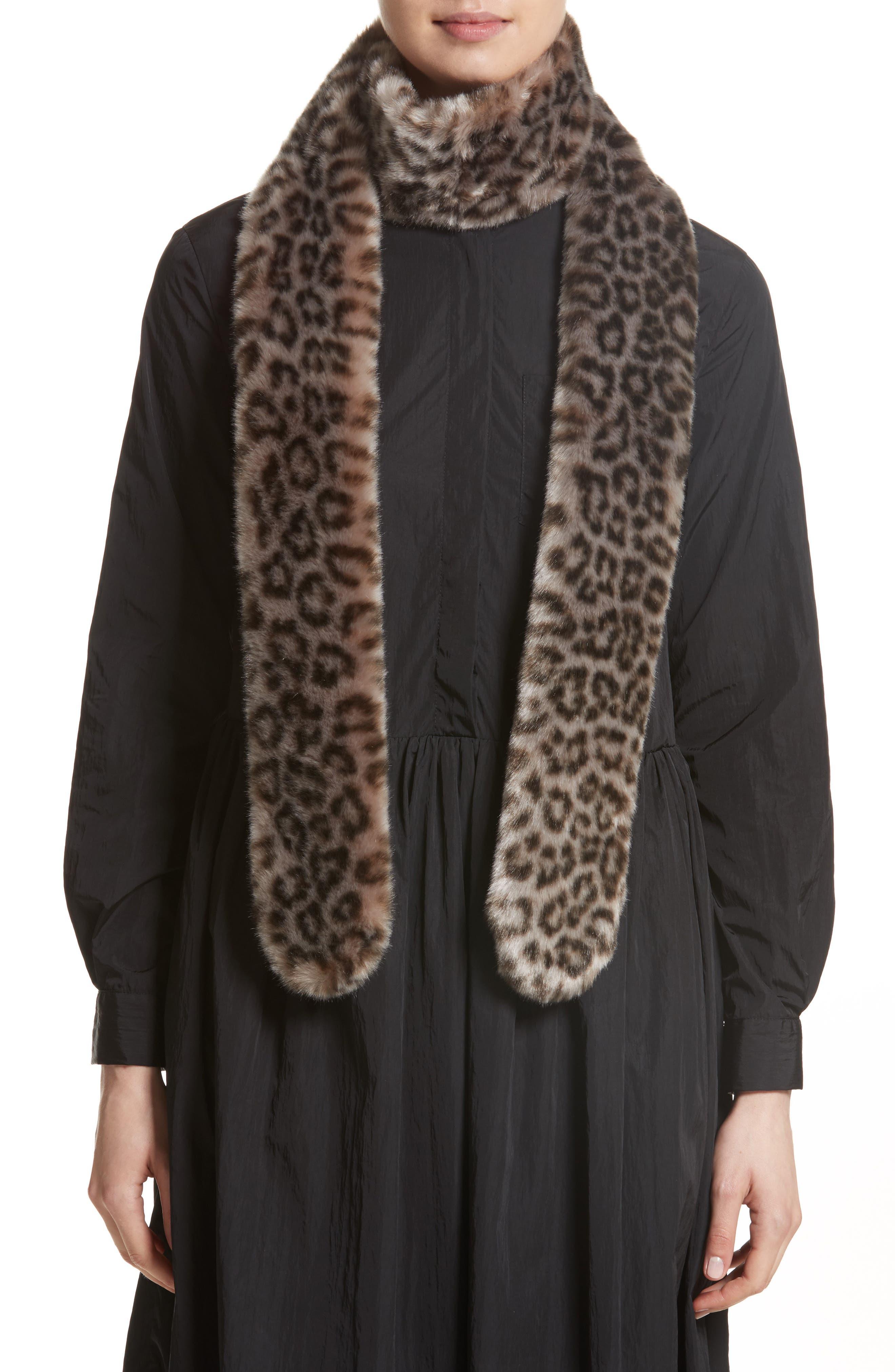 Leopard Print Faux Fur Scarf,                             Alternate thumbnail 2, color,                             Grey Leopard