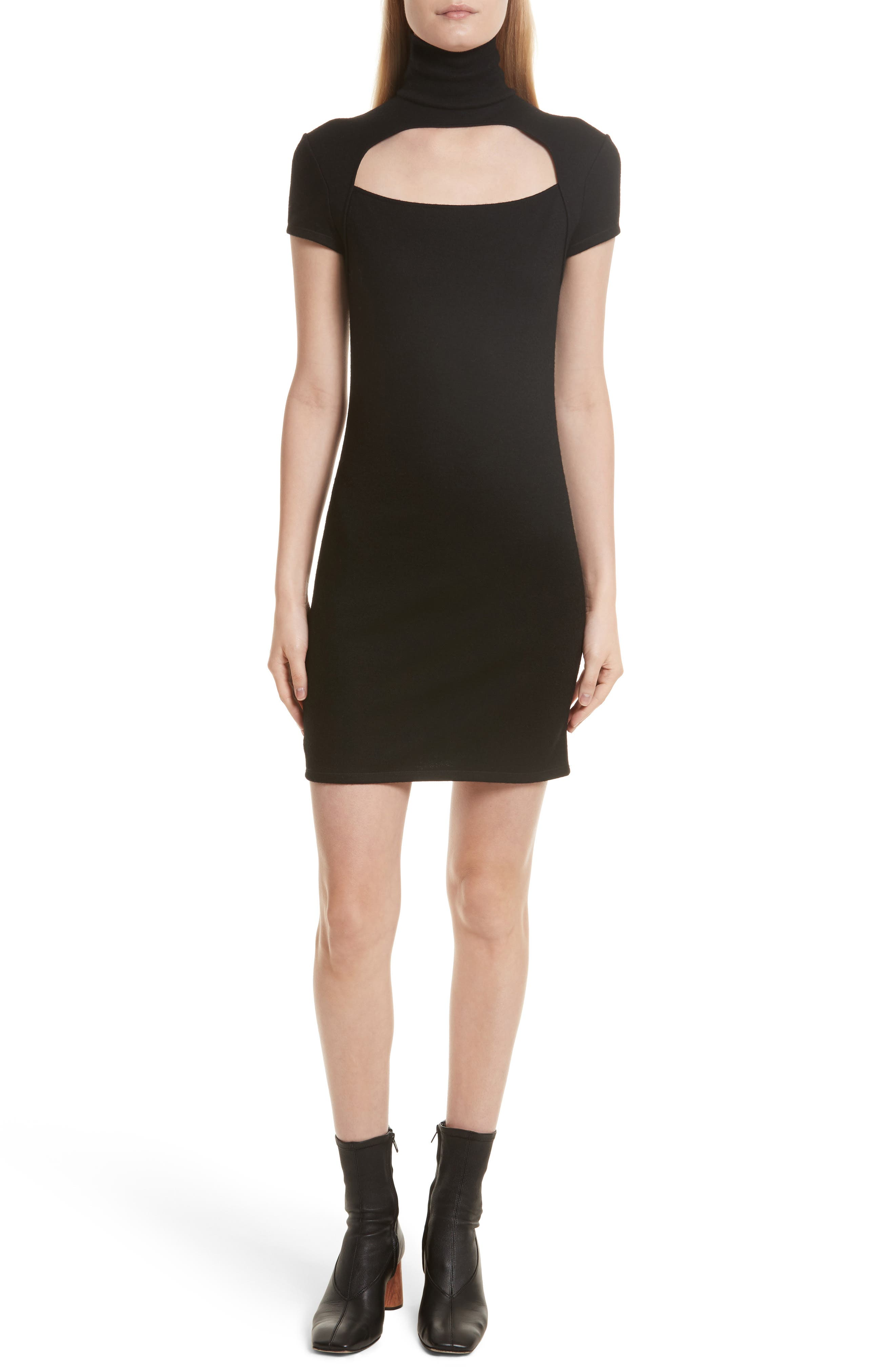 Cutout Wool Blend Dress,                             Main thumbnail 1, color,                             Black