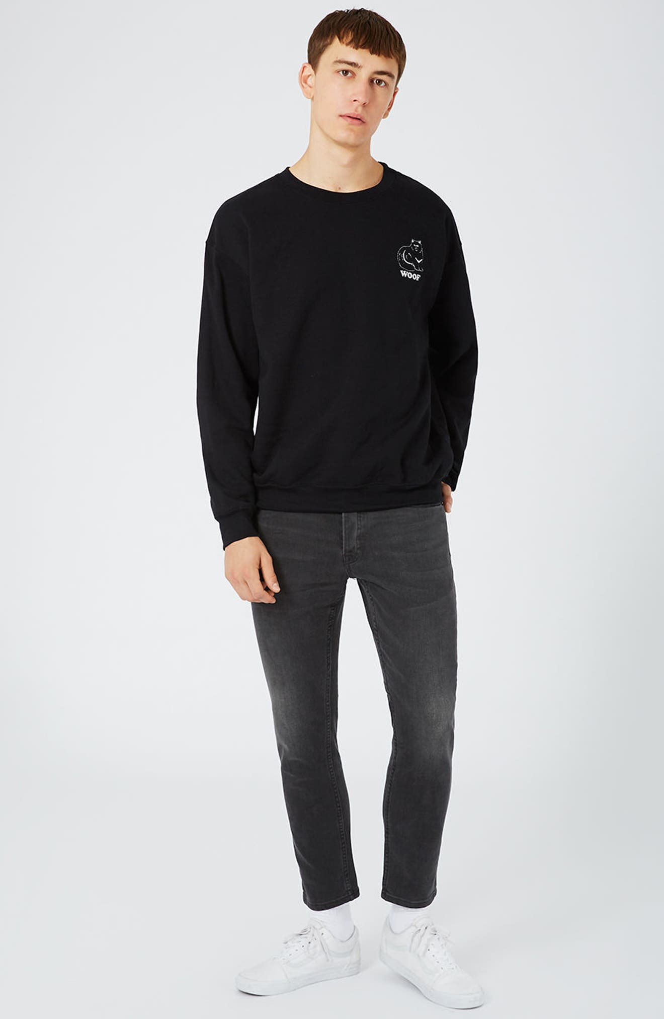 Alternate Image 2  - Topman Stretch Slim Fit Crop Jeans