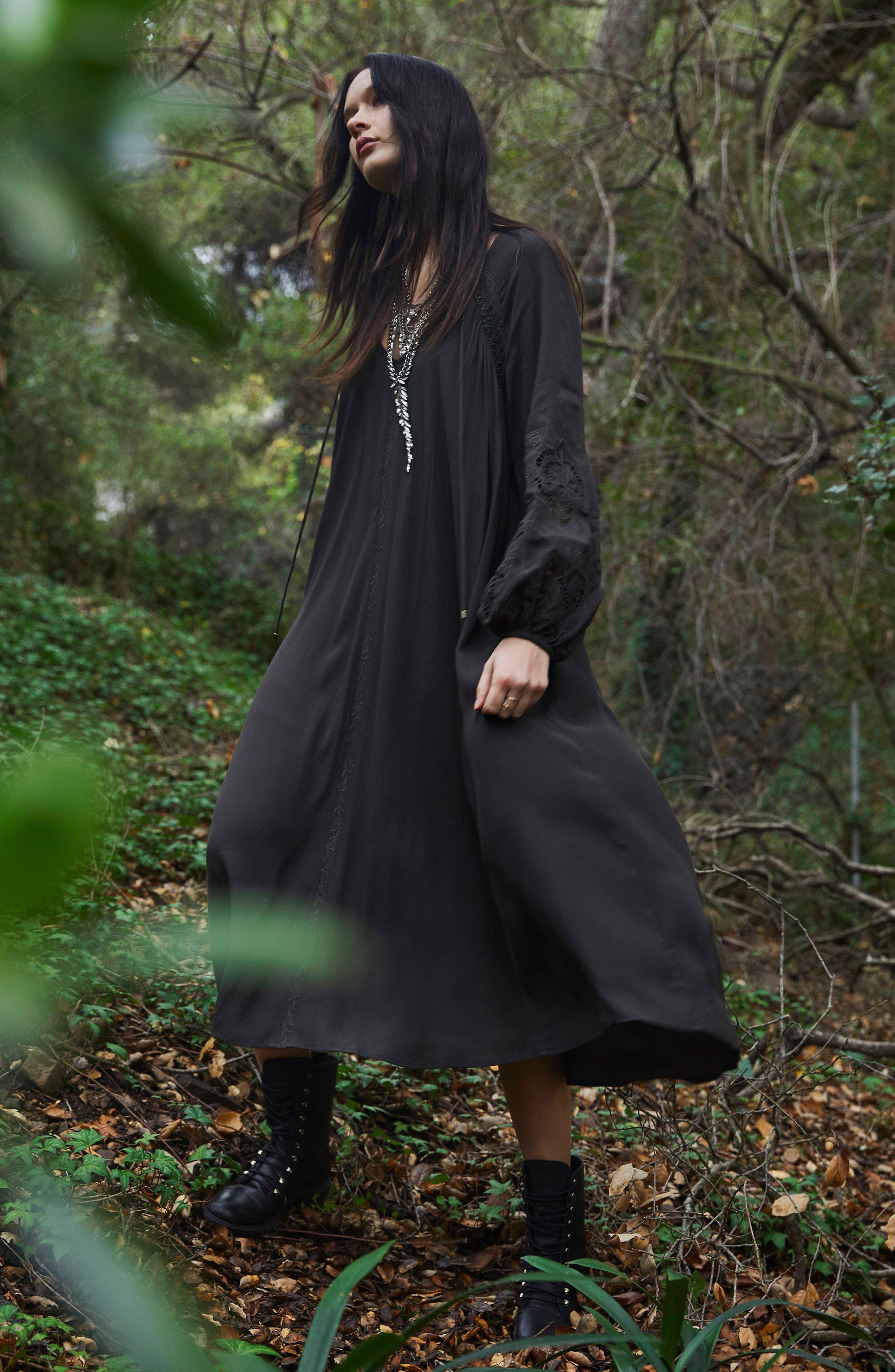 Ava Crochet Detail Dress,                             Alternate thumbnail 2, color,                             Dark Slate