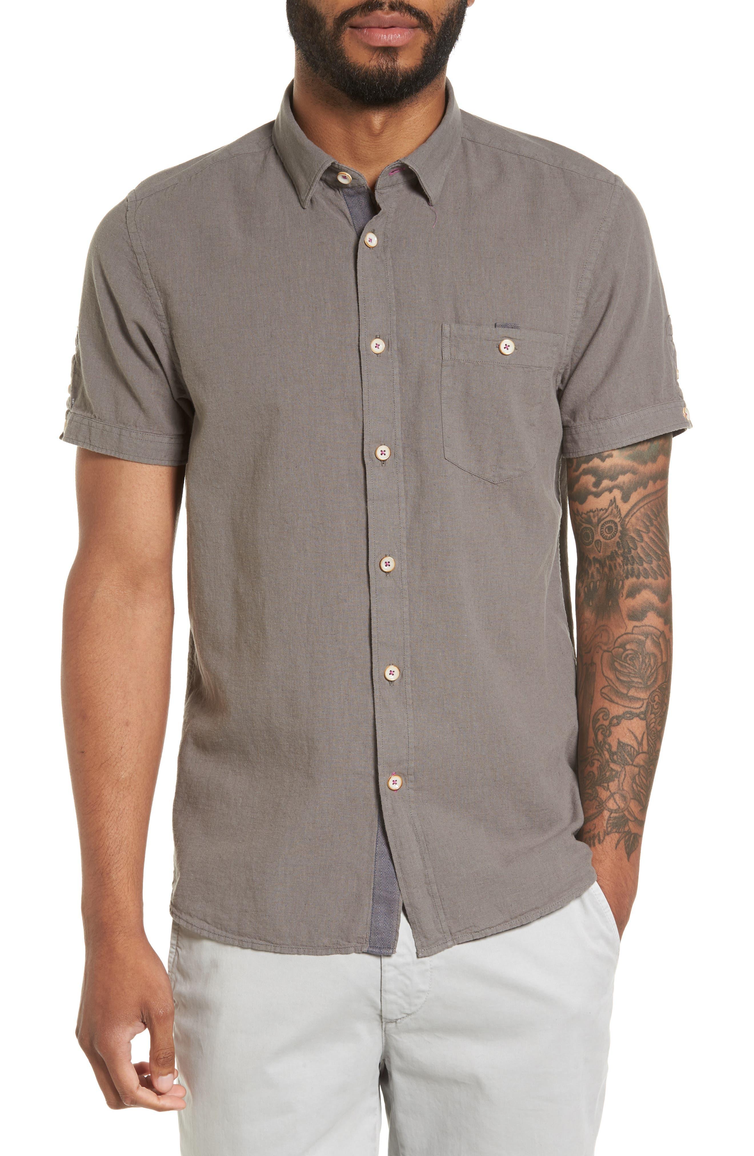 Shrwash Modern Slim Fit Sport Shirt,                         Main,                         color, Grey