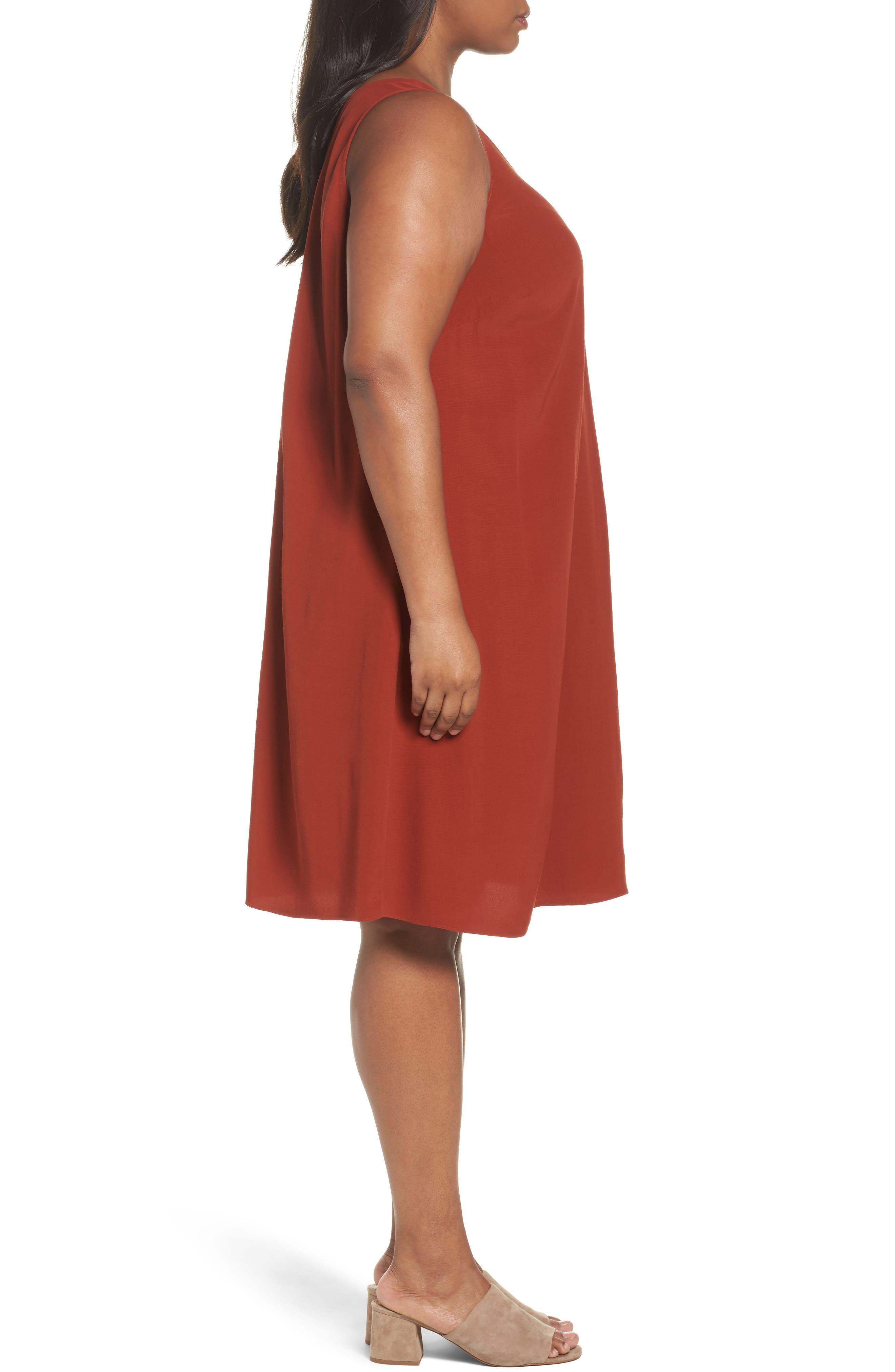 Tencel<sup>®</sup> Blend A-Line Shift Dress,                             Alternate thumbnail 3, color,                             Parka