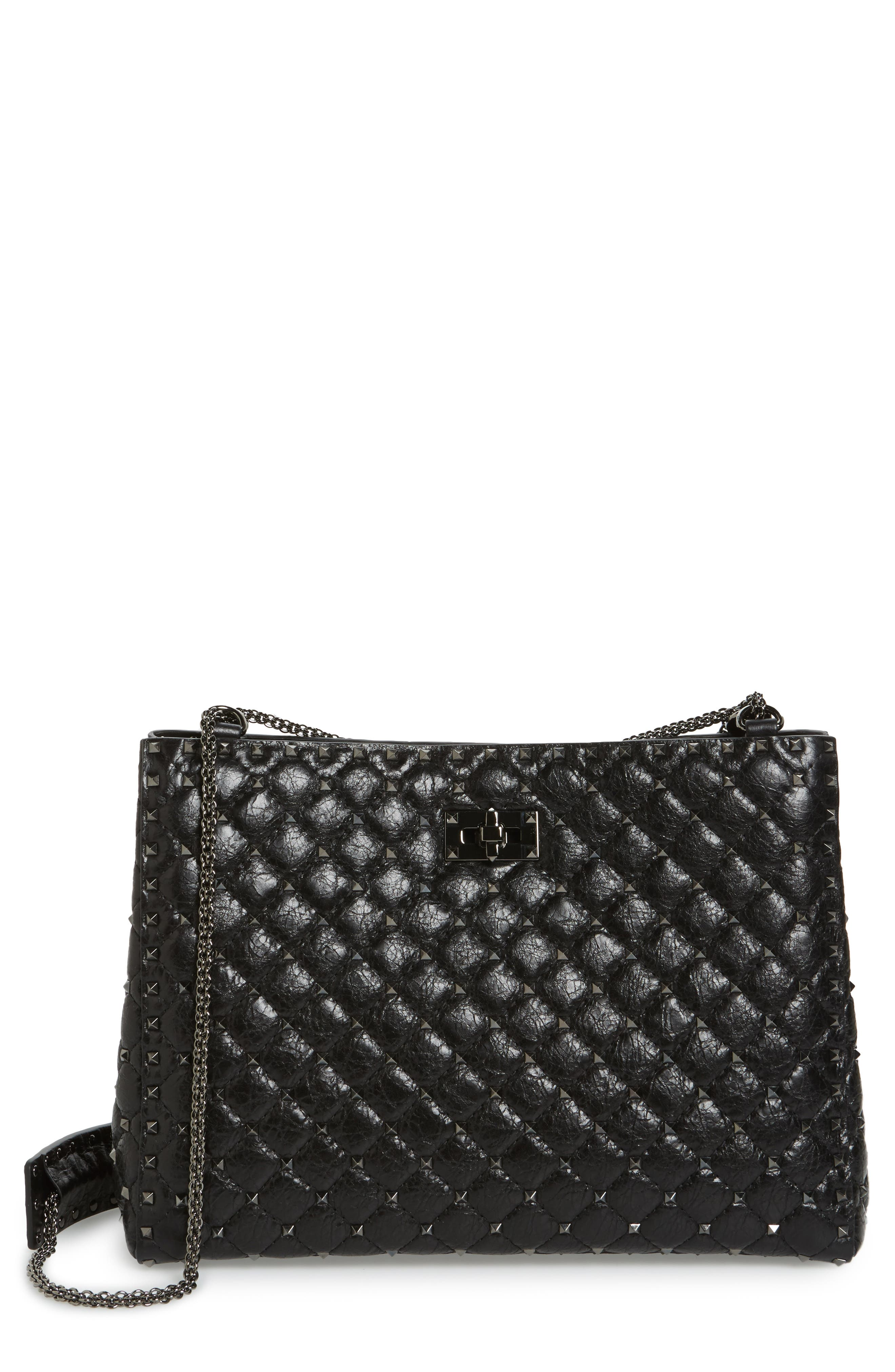 Rockstud Spike Leather Tote,                             Main thumbnail 1, color,                             Nero