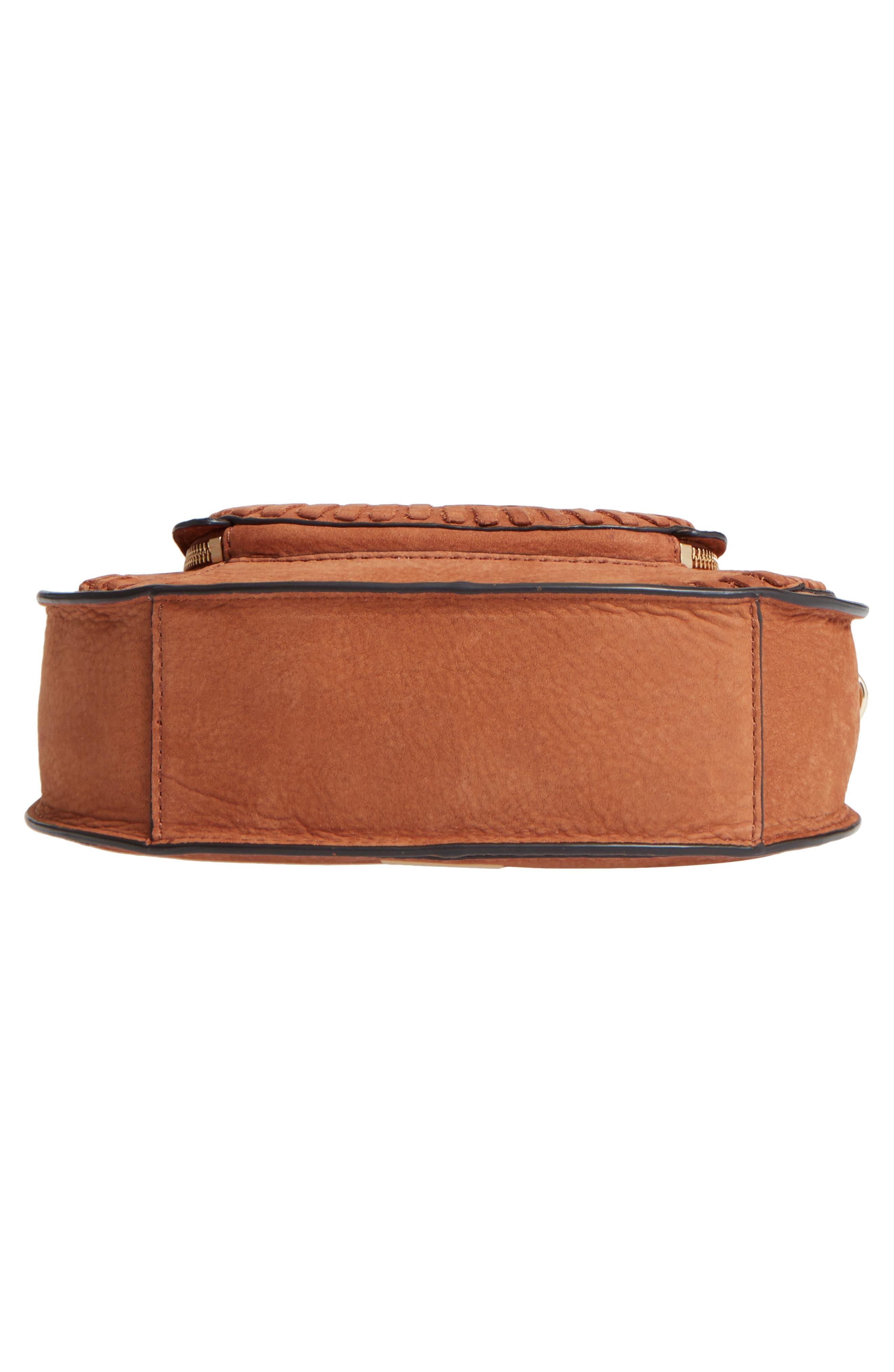 Mini Vanity Saddle Bag,                             Alternate thumbnail 6, color,                             Almond Nubuck