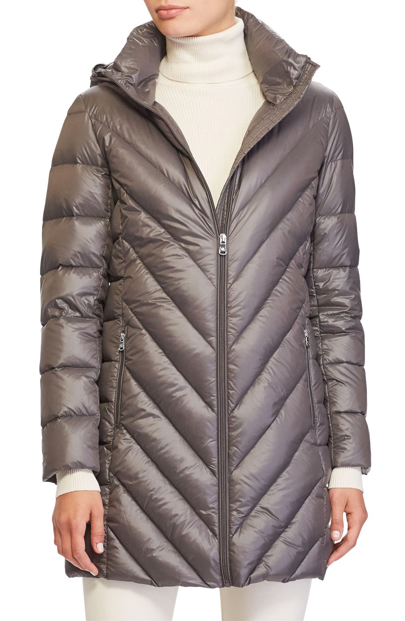 Chevron Quilted Down Jacket,                         Main,                         color, Concrete
