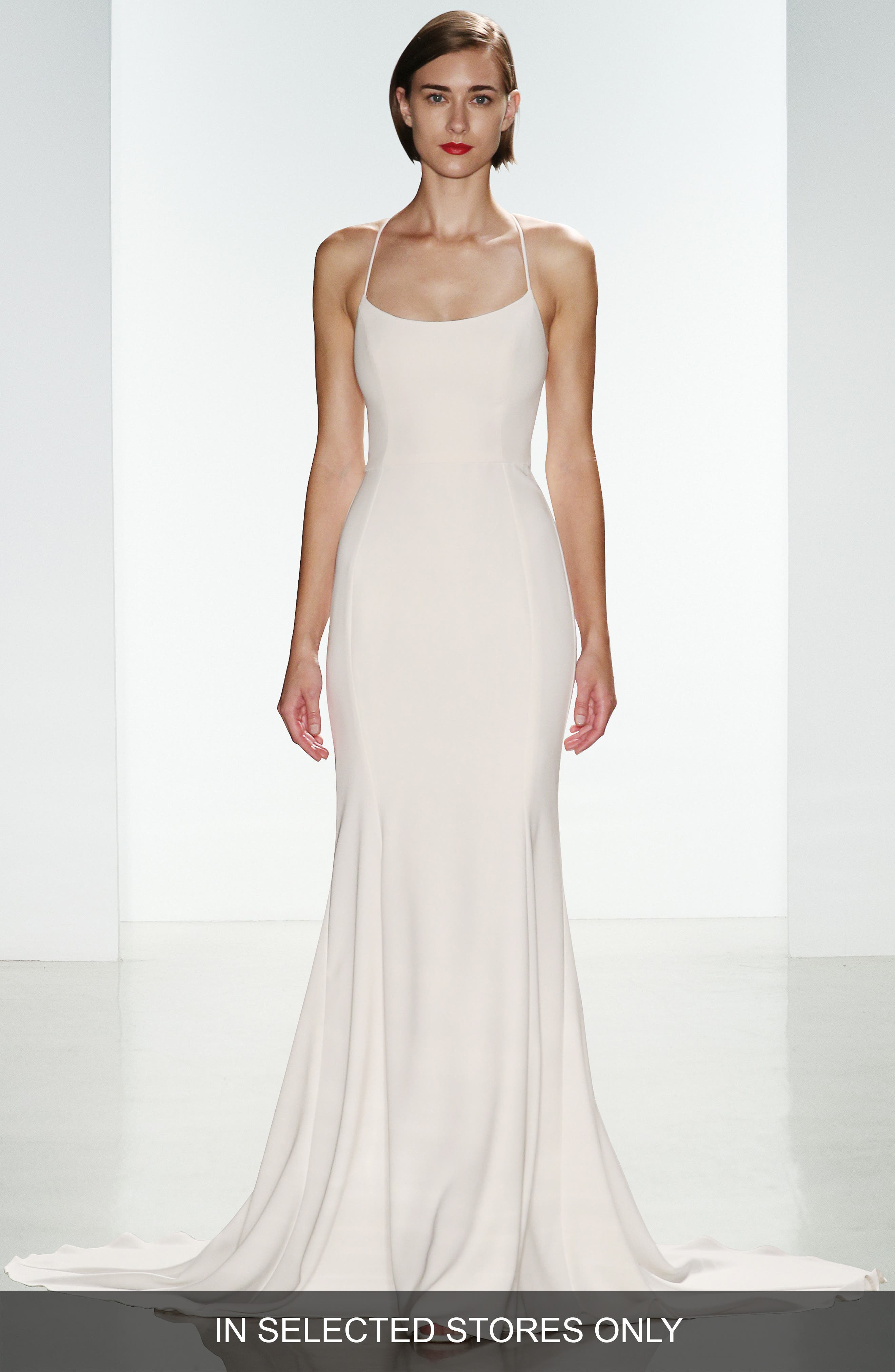 Main Image - nouvelle AMSALE 'Audrey' Crepe Racerback Gown (In Stores Only)