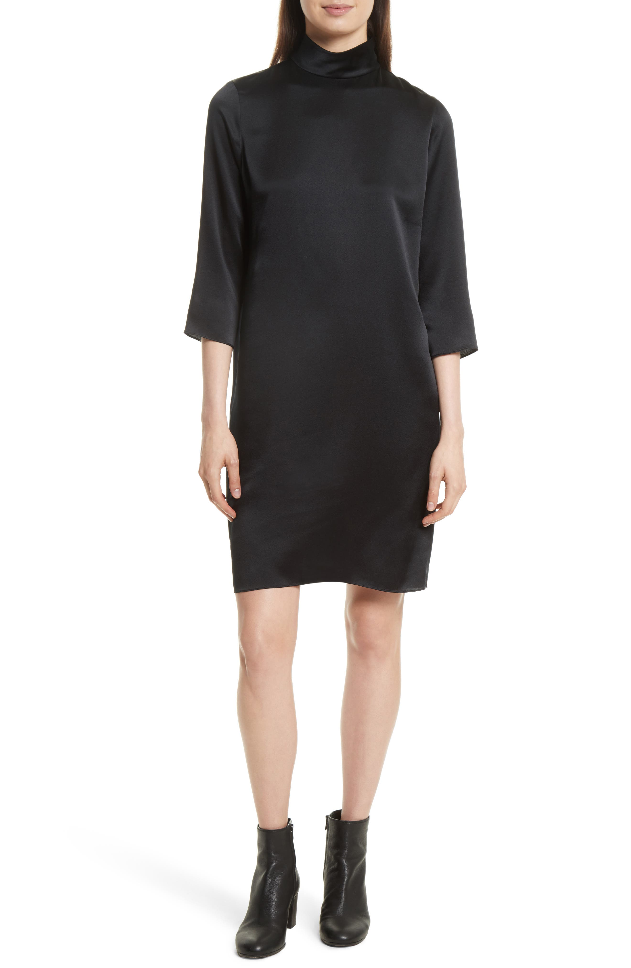 Mock Neck Silk Shift Dress,                         Main,                         color, Black