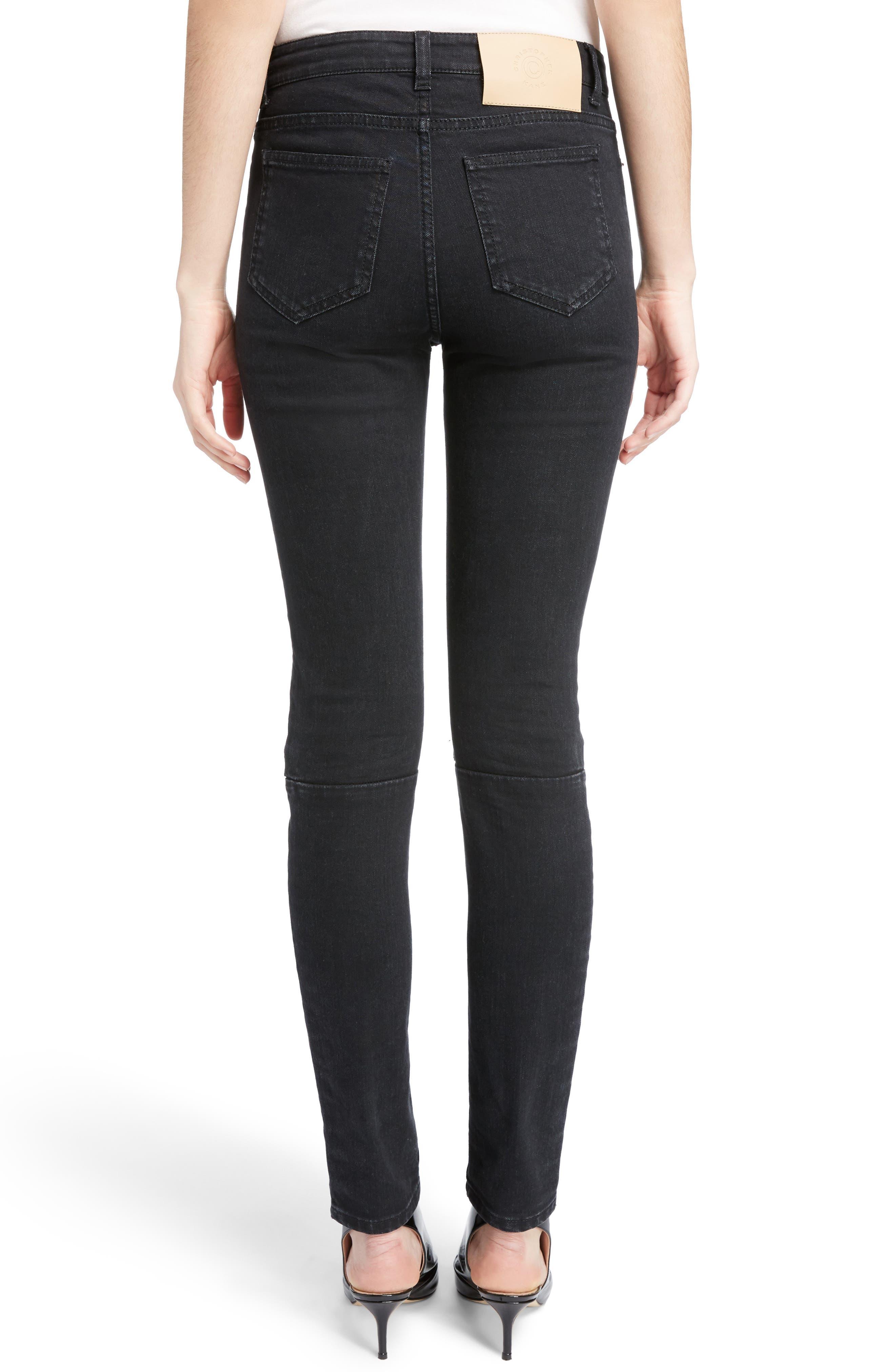 Hook & Loop Fly Skinny Jeans,                             Alternate thumbnail 2, color,                             Black