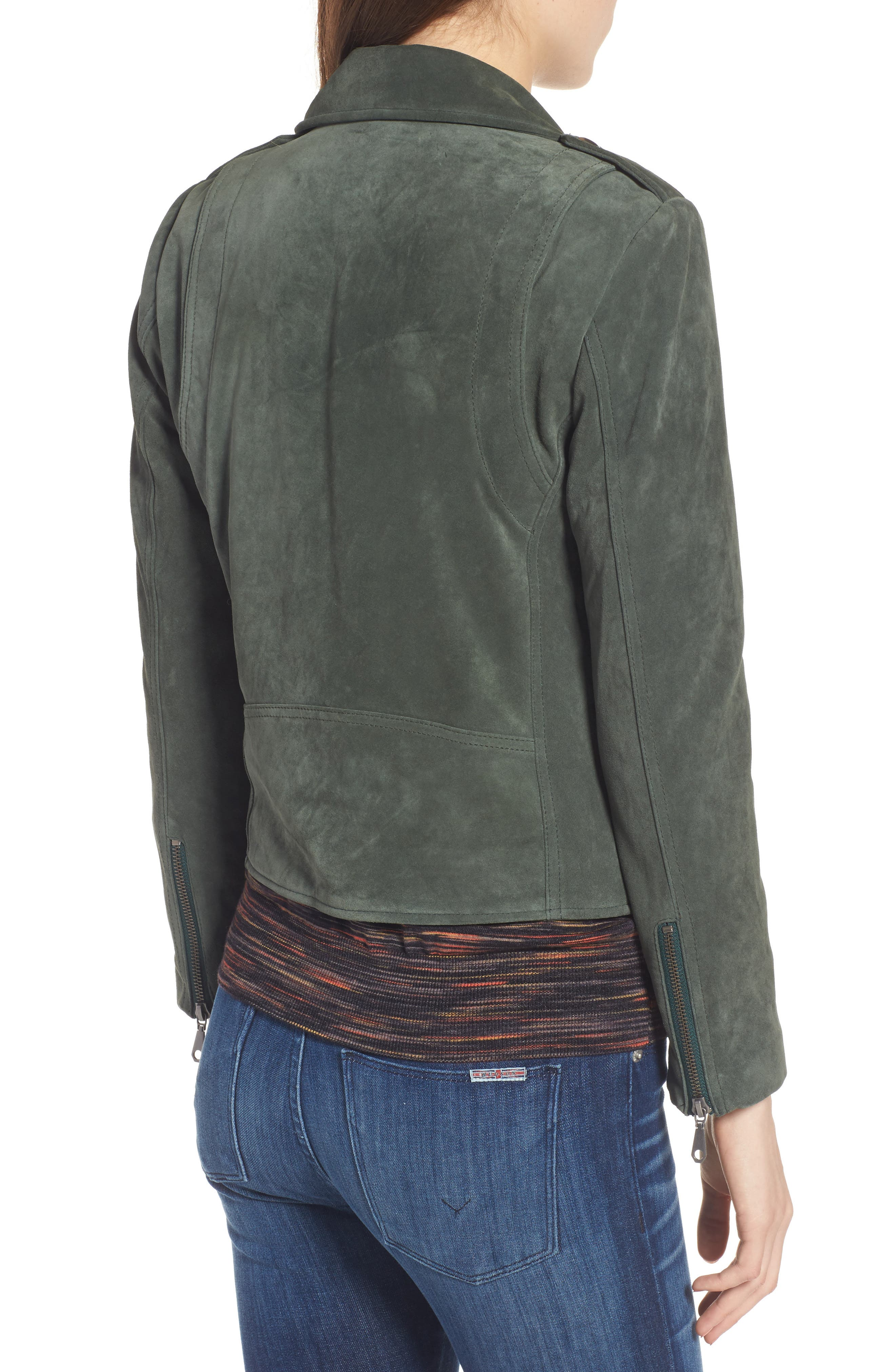 Wes Suede Moto Jacket,                             Alternate thumbnail 2, color,                             Dark Green
