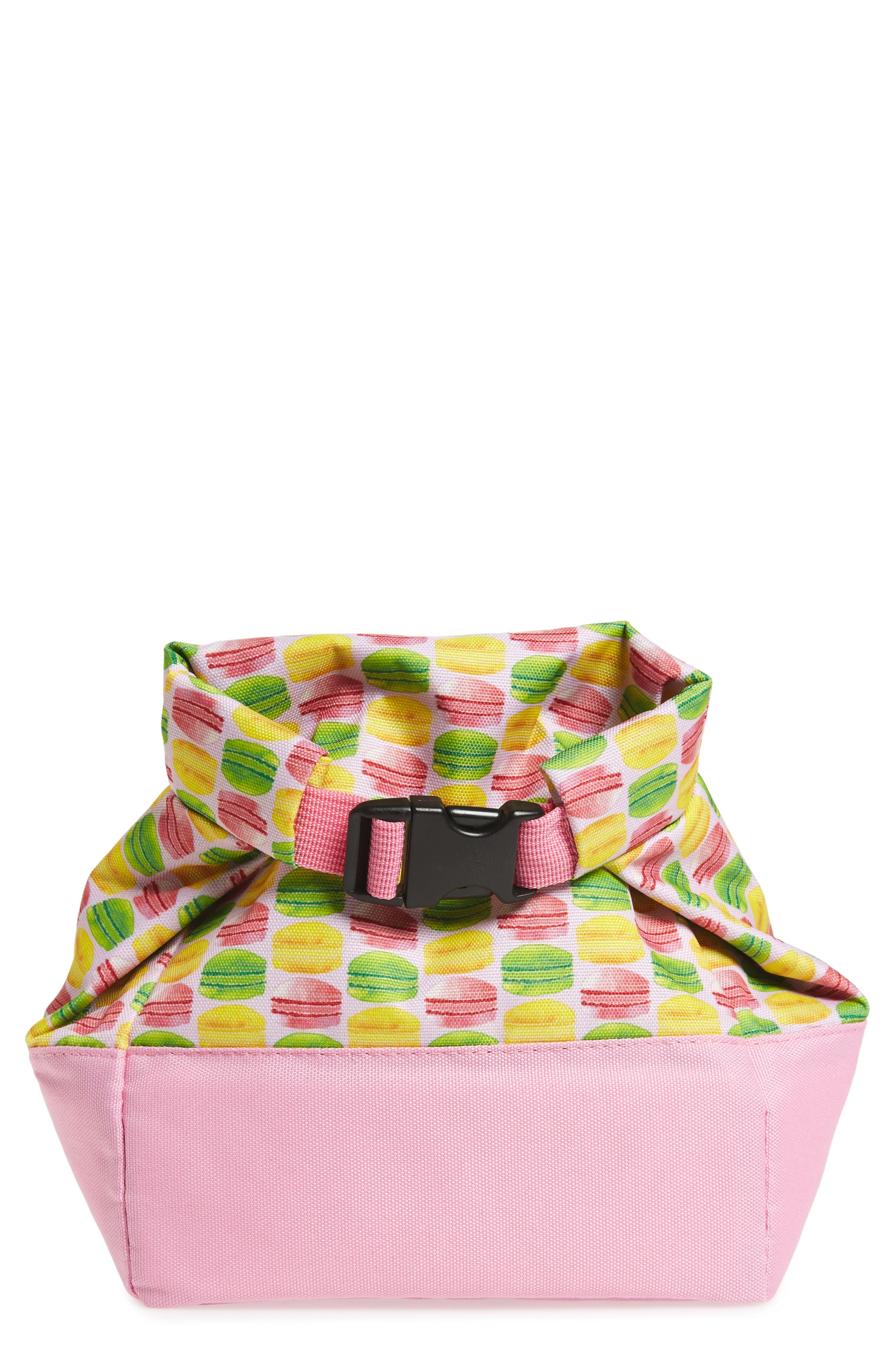 Macaron Print Roll Top Lunch Bag,                             Main thumbnail 1, color,                             Pink