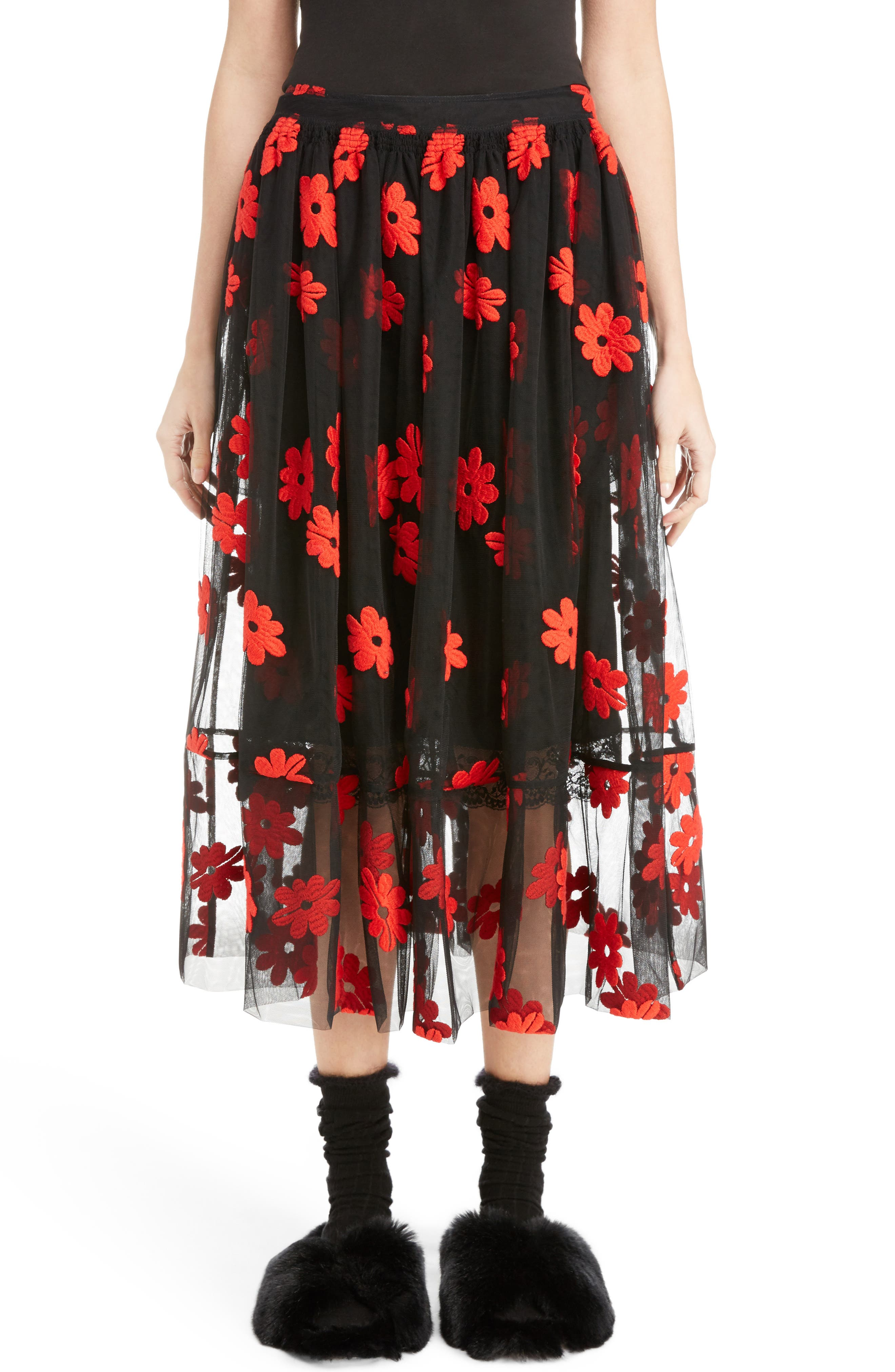 Simone Rocha Floral Embroidered Tulle Skirt