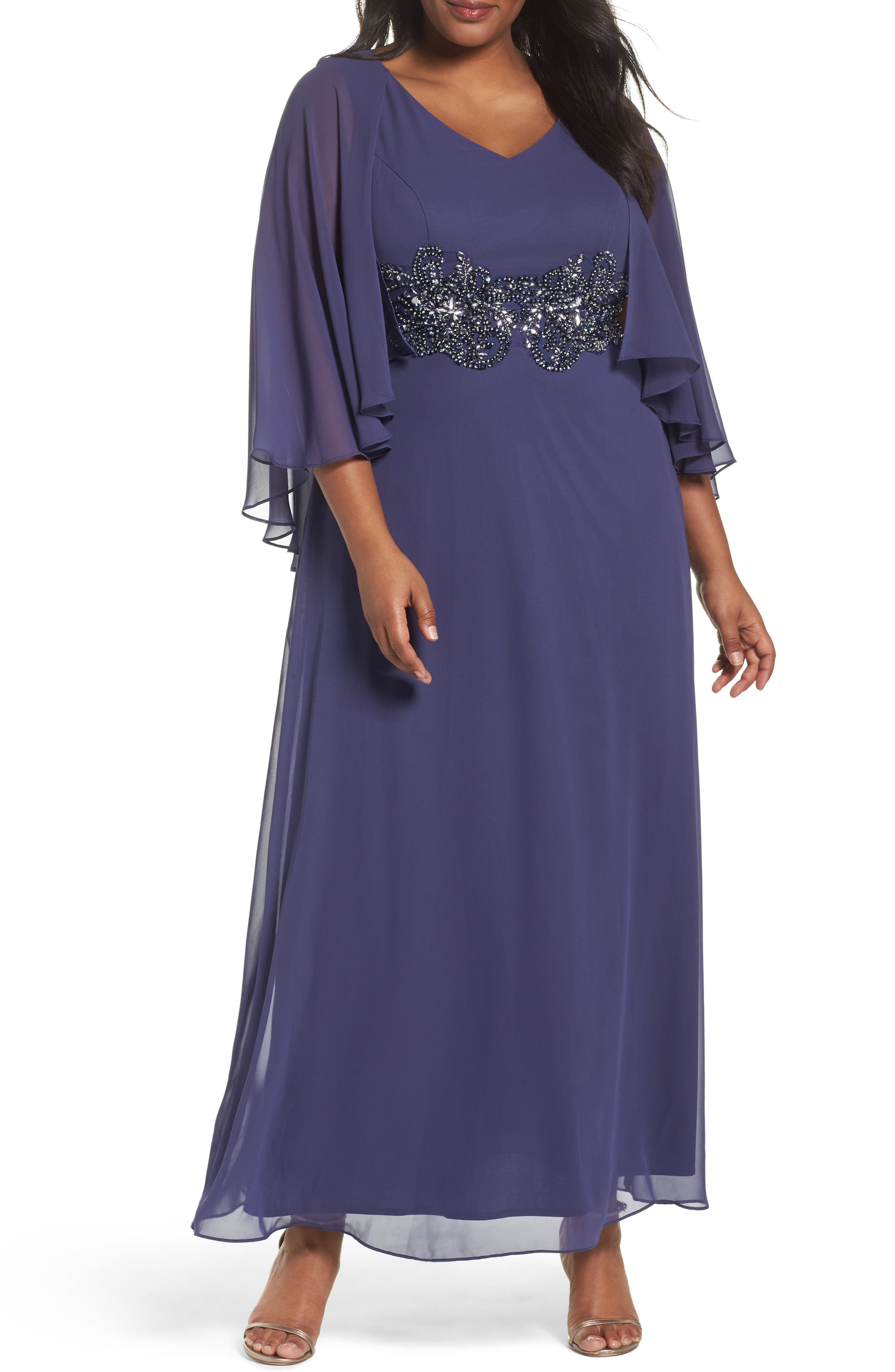 Embellished Waist Capelet Gown,                             Main thumbnail 1, color,                             Heather