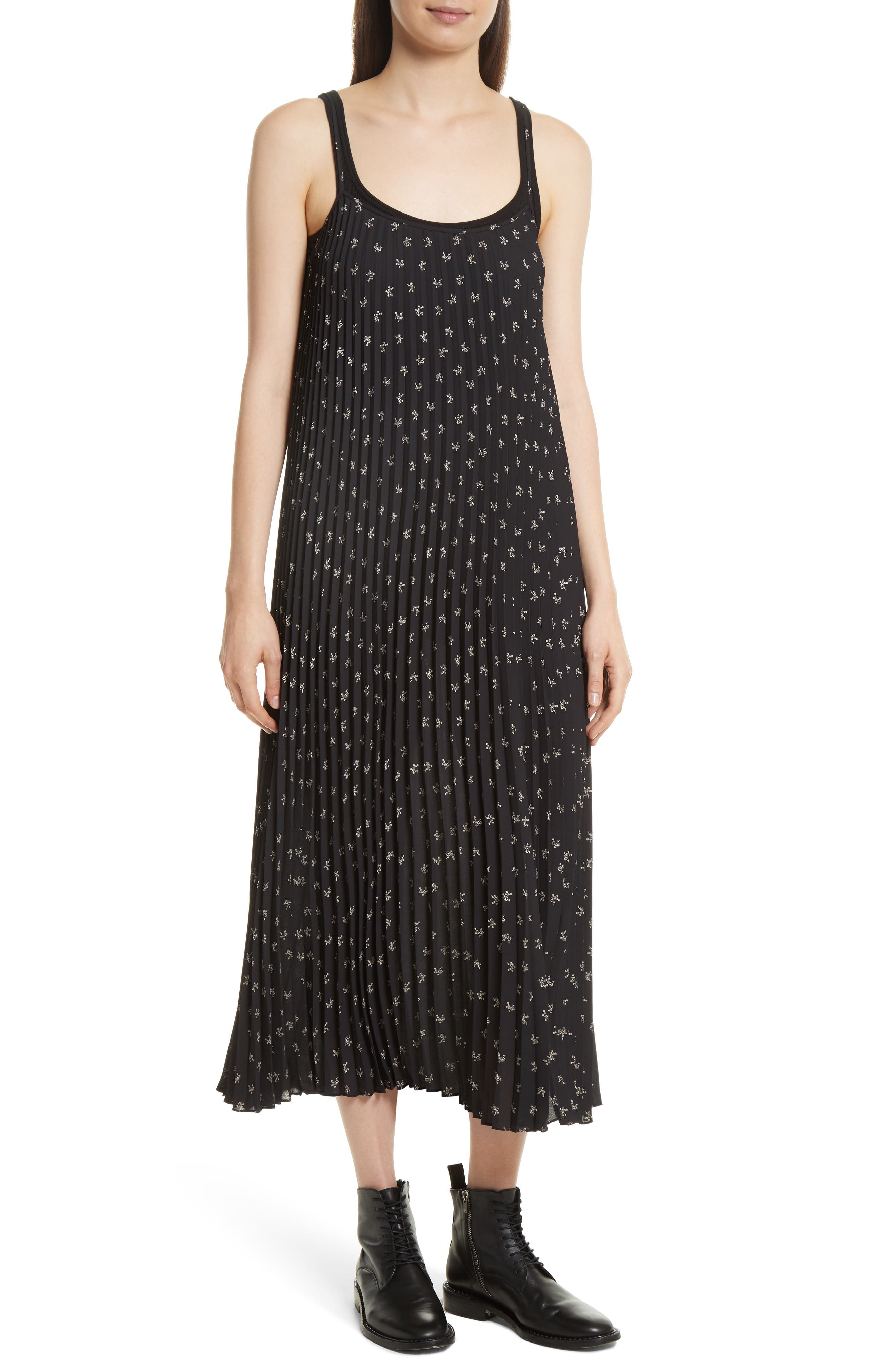 Tossed Ditsy Floral Pleated Slipdress,                             Main thumbnail 1, color,                             Black/ Linen