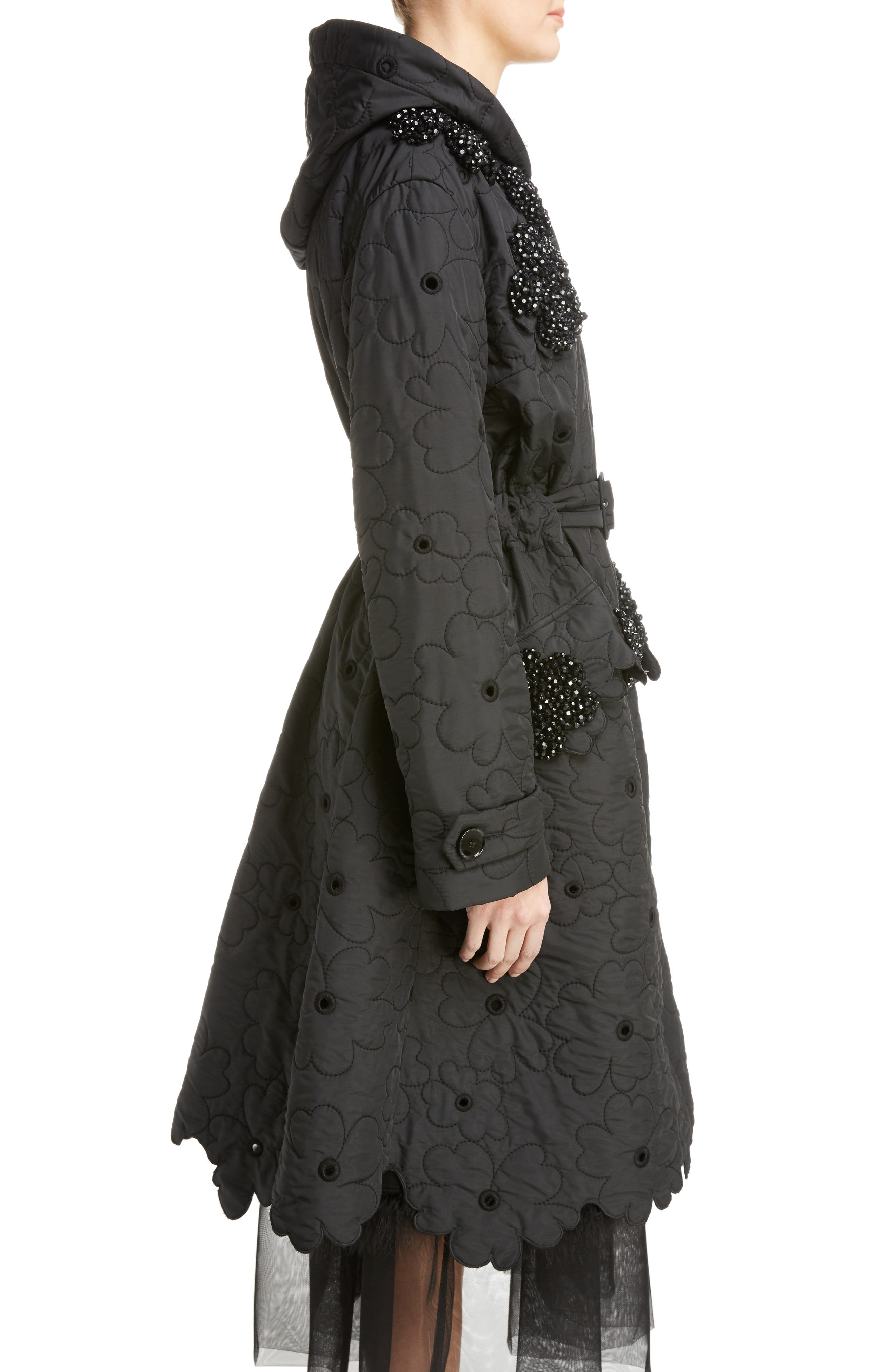 Beaded Floral Quilted Parka,                             Alternate thumbnail 3, color,                             Black