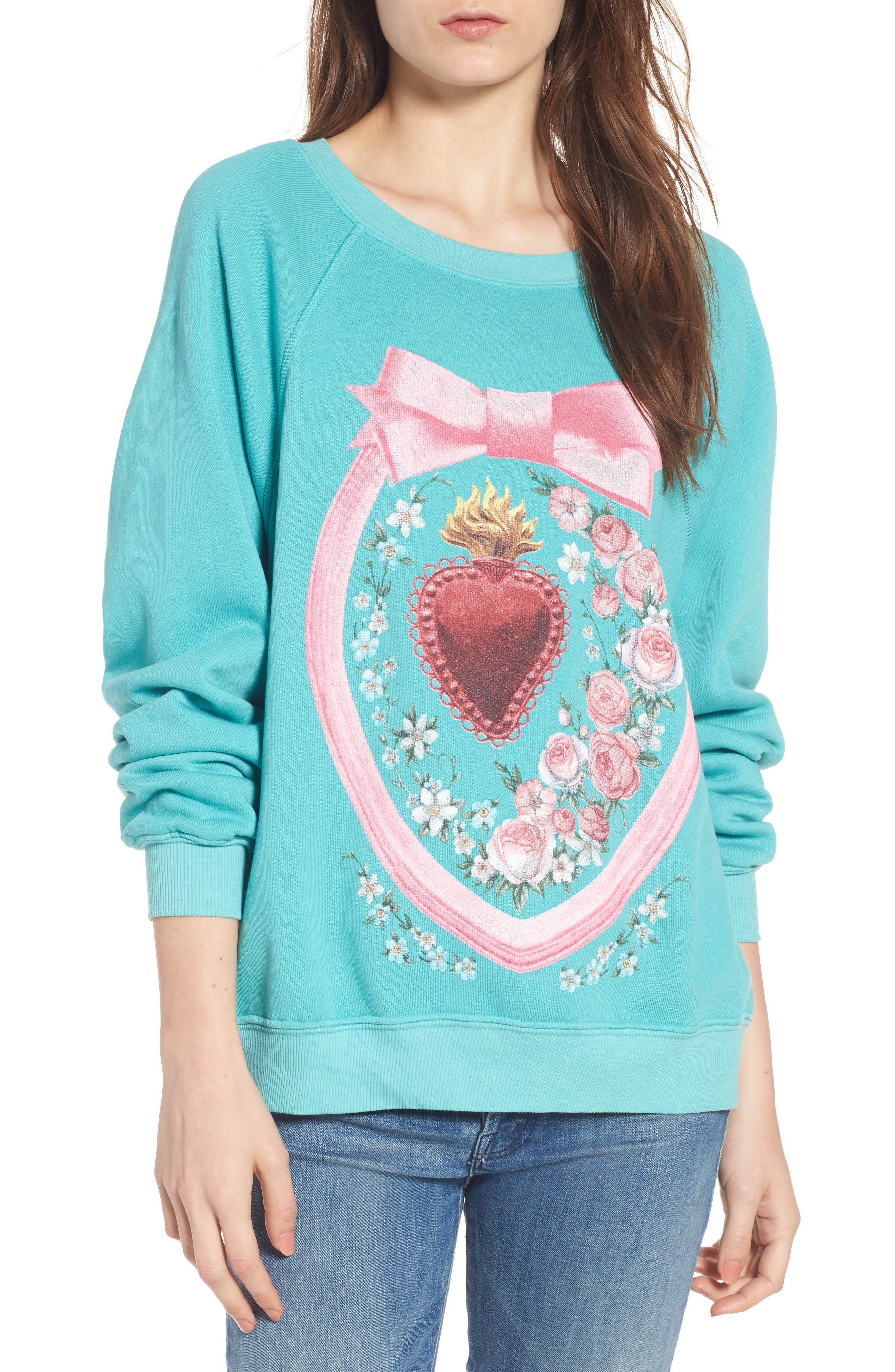 Heirlooms Sommers Sweatshirt,                             Main thumbnail 1, color,                             Trance Teal