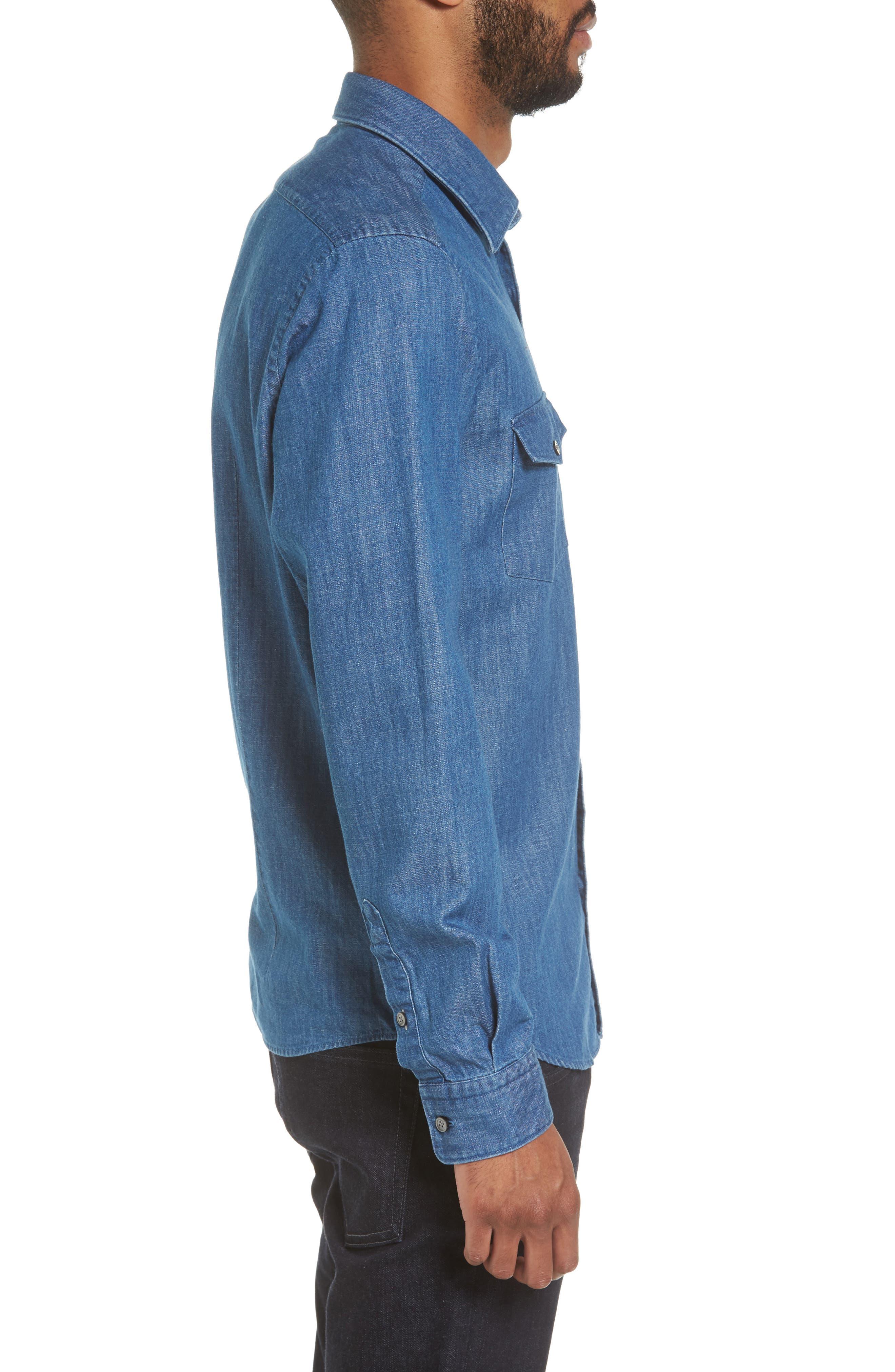 Lance Regular Fit Two-Pocket Denim Sport Shirt,                             Alternate thumbnail 3, color,                             Blue
