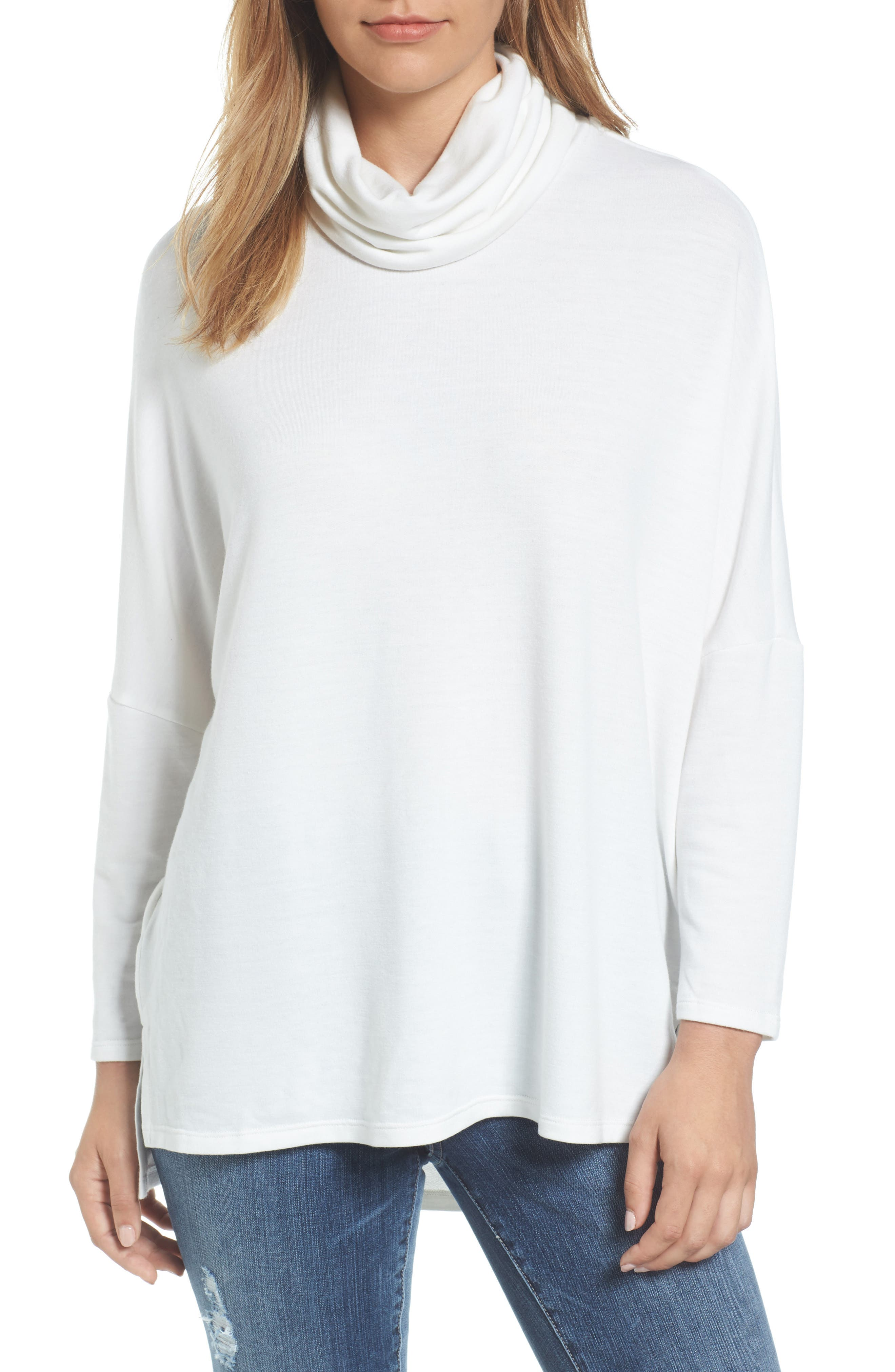 Caslon® Cowl Neck Tunic Sweater (Regular & Petite)