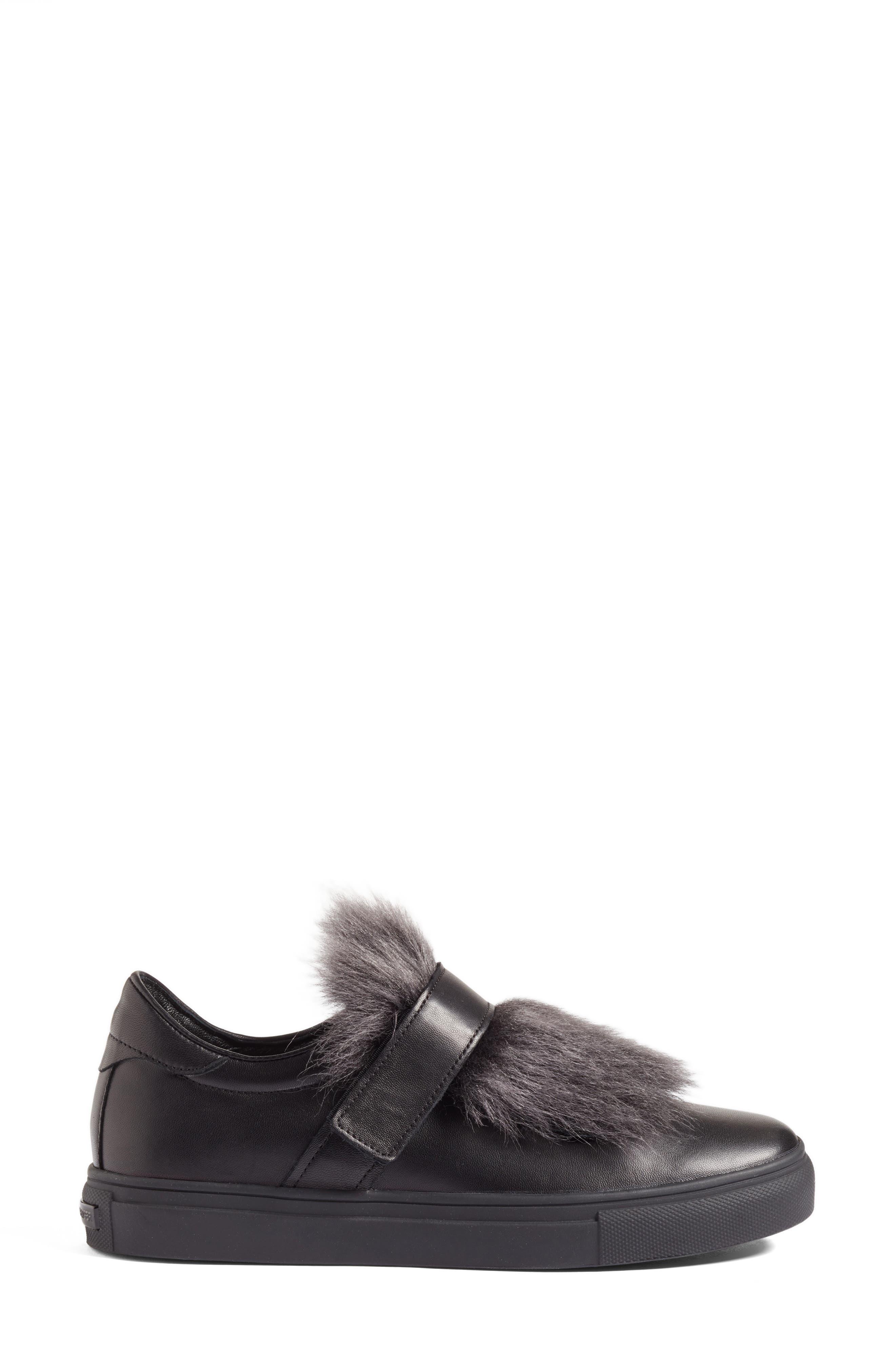 Kennel & Schmenger Basket Slip-On Sneaker with Genuine Shearling Trim,                             Alternate thumbnail 3, color,                             Black
