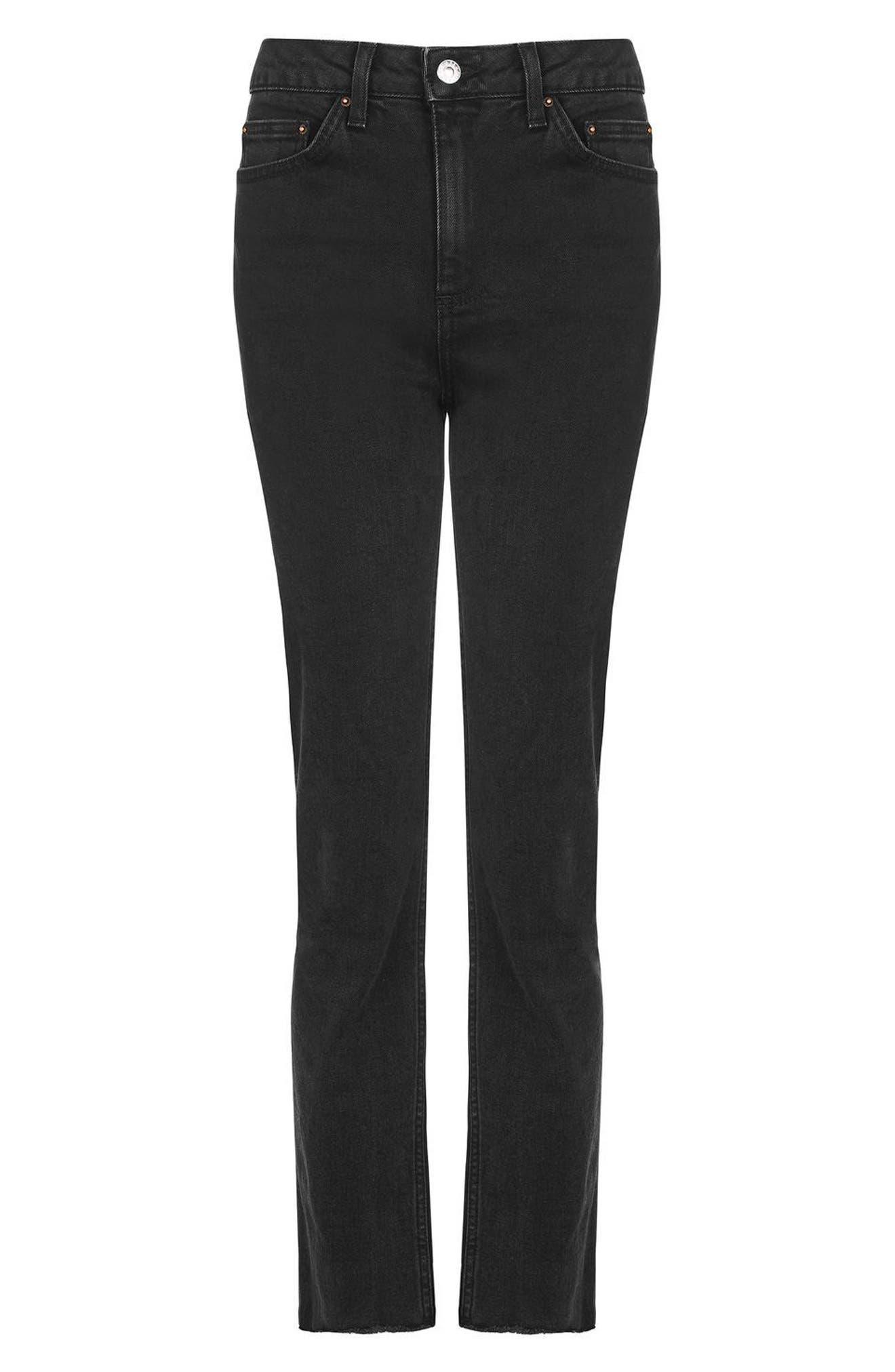 Alternate Image 4  - Topshop Raw Hem Straight Leg Jeans