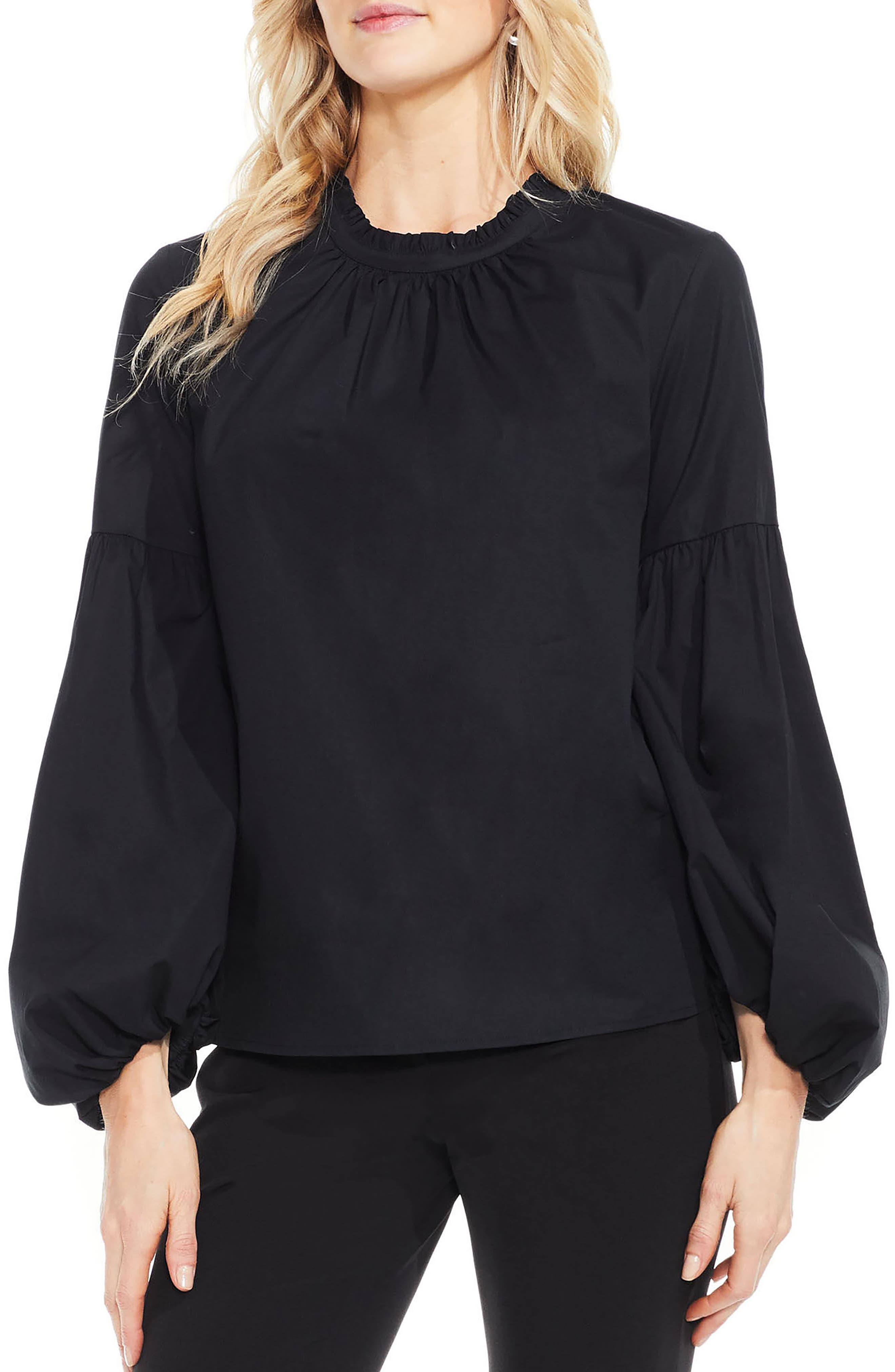 Balloon Sleeve Blouse,                         Main,                         color, Rich Black