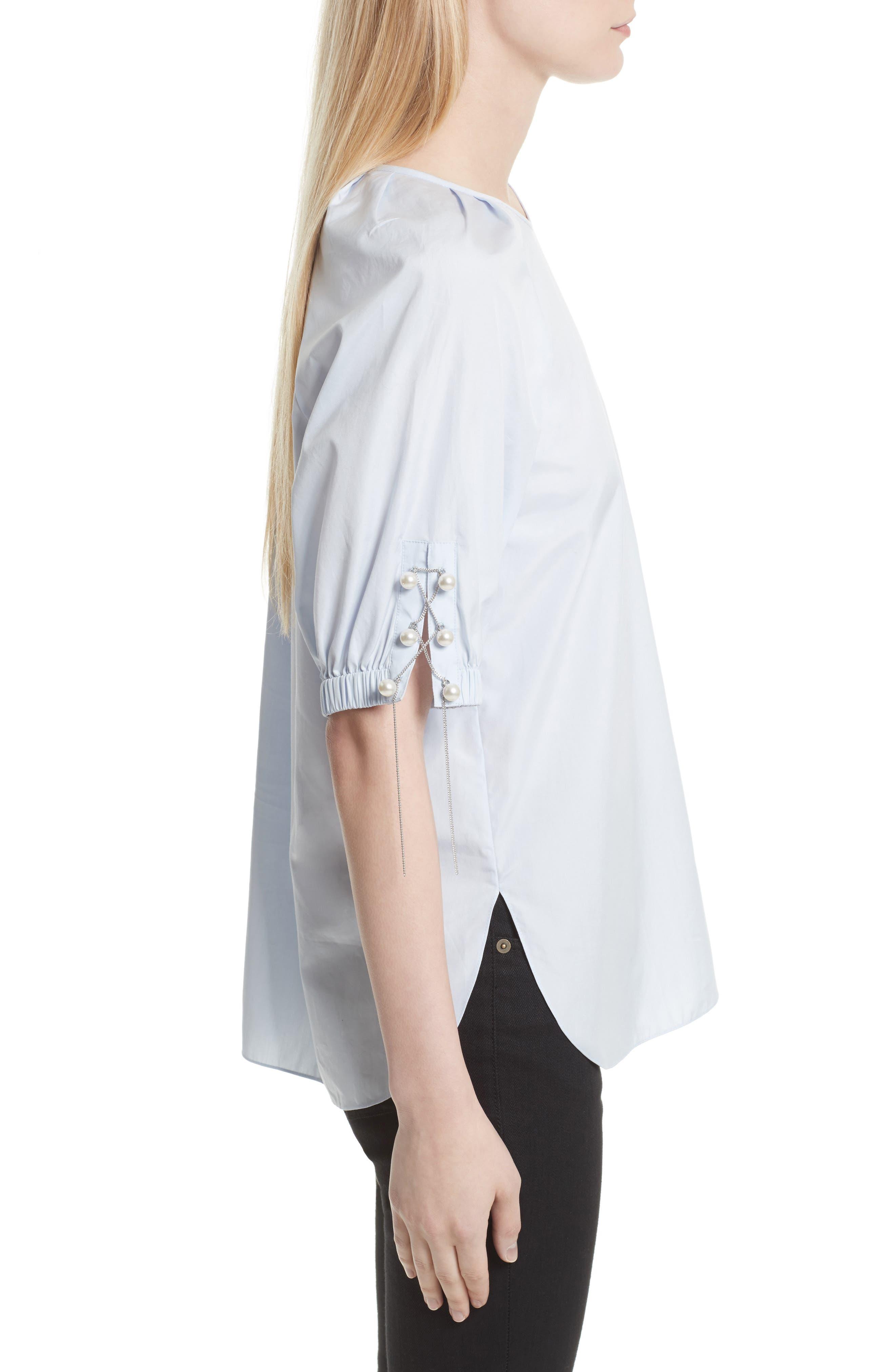Alternate Image 3  - 3.1 Phillip Lim Faux Pearl & Chain Lacing Cotton Top