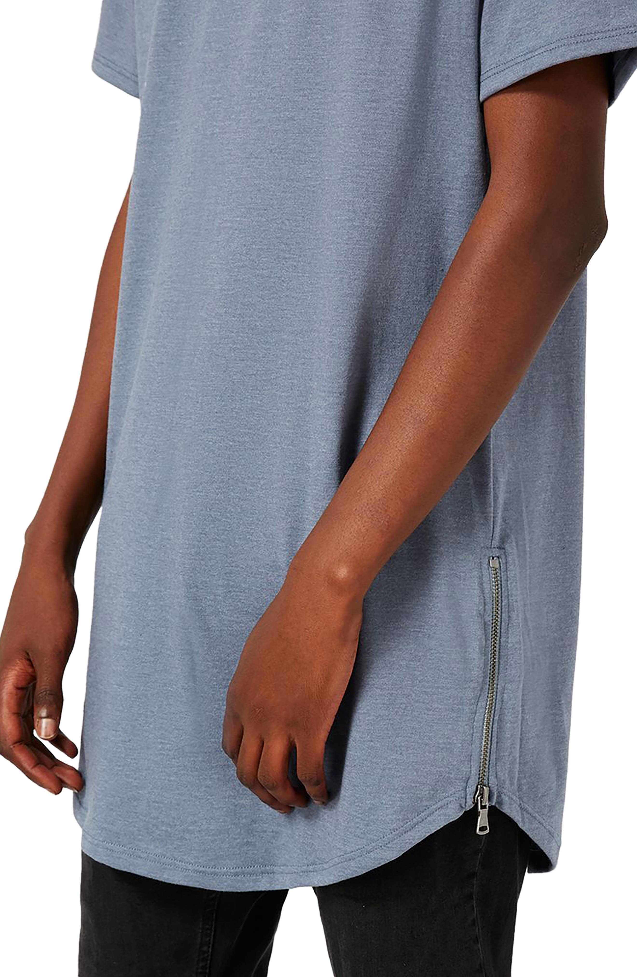 Longline T-Shirt with Side Zips,                             Alternate thumbnail 3, color,                             Mid Blue