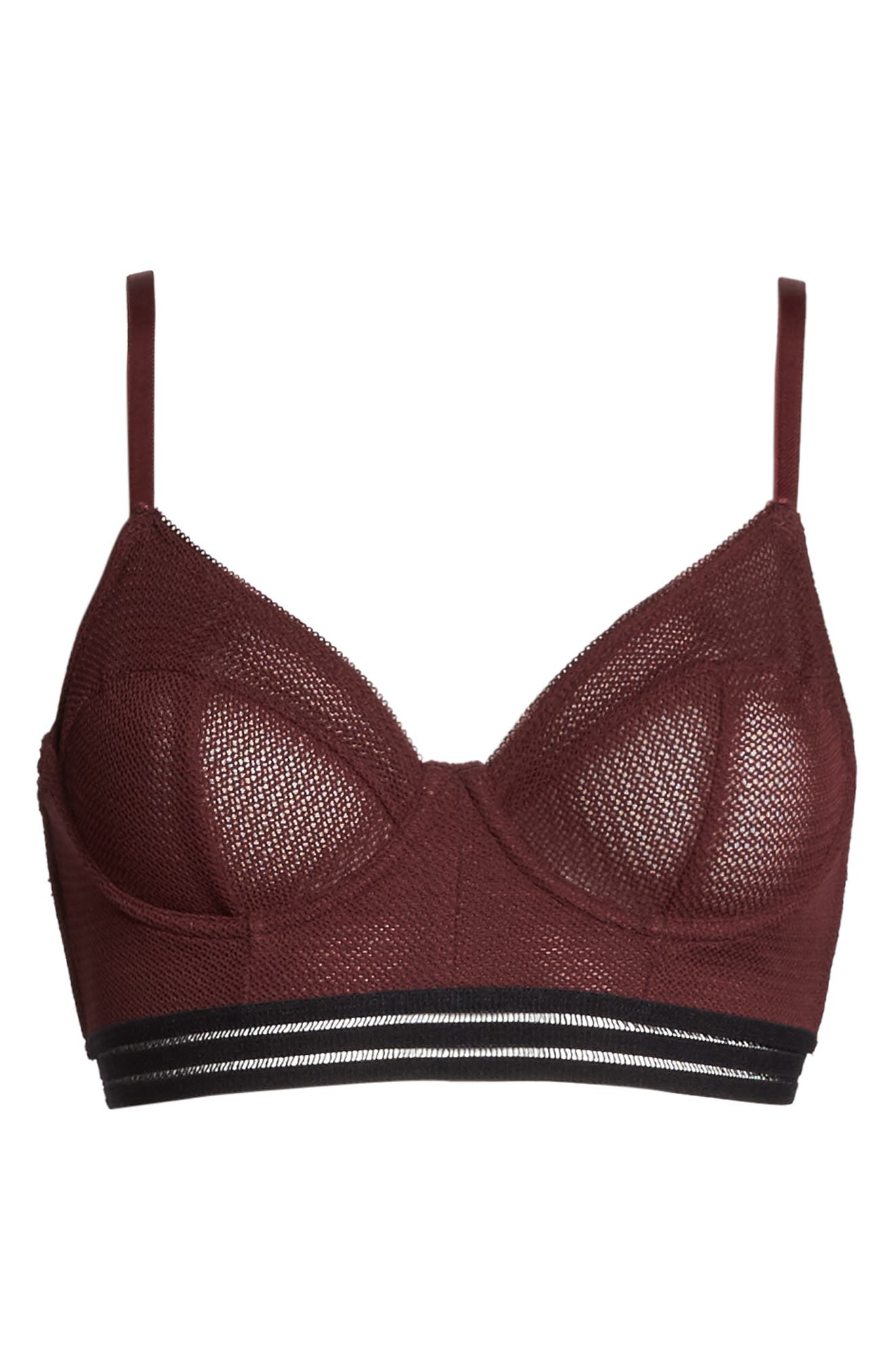 Ariana Underwire Longline Bra,                             Alternate thumbnail 4, color,                             Berry