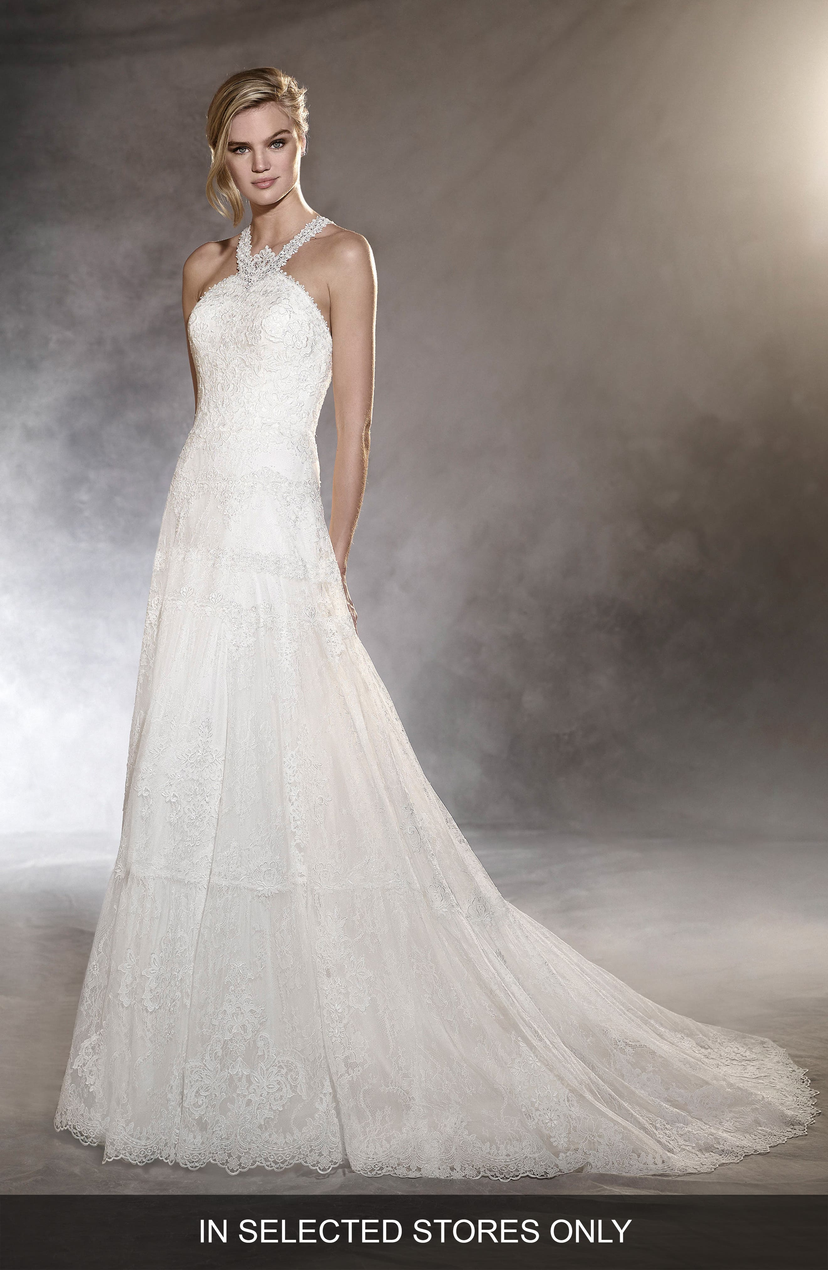 Ospel Halter Lace Gown,                         Main,                         color, Off White