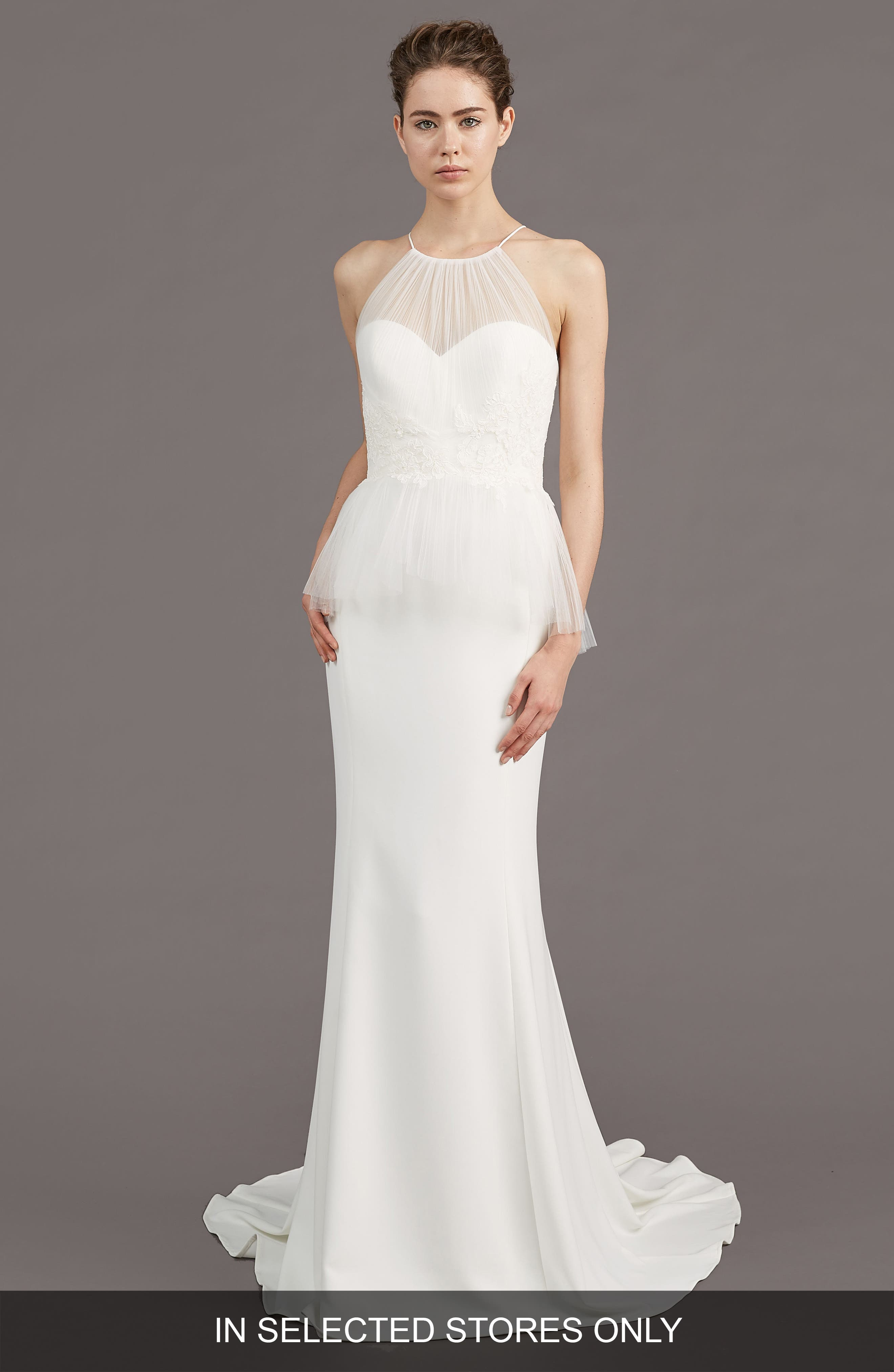 AMSALE Ruby Crepe Peplum Gown in Ivory