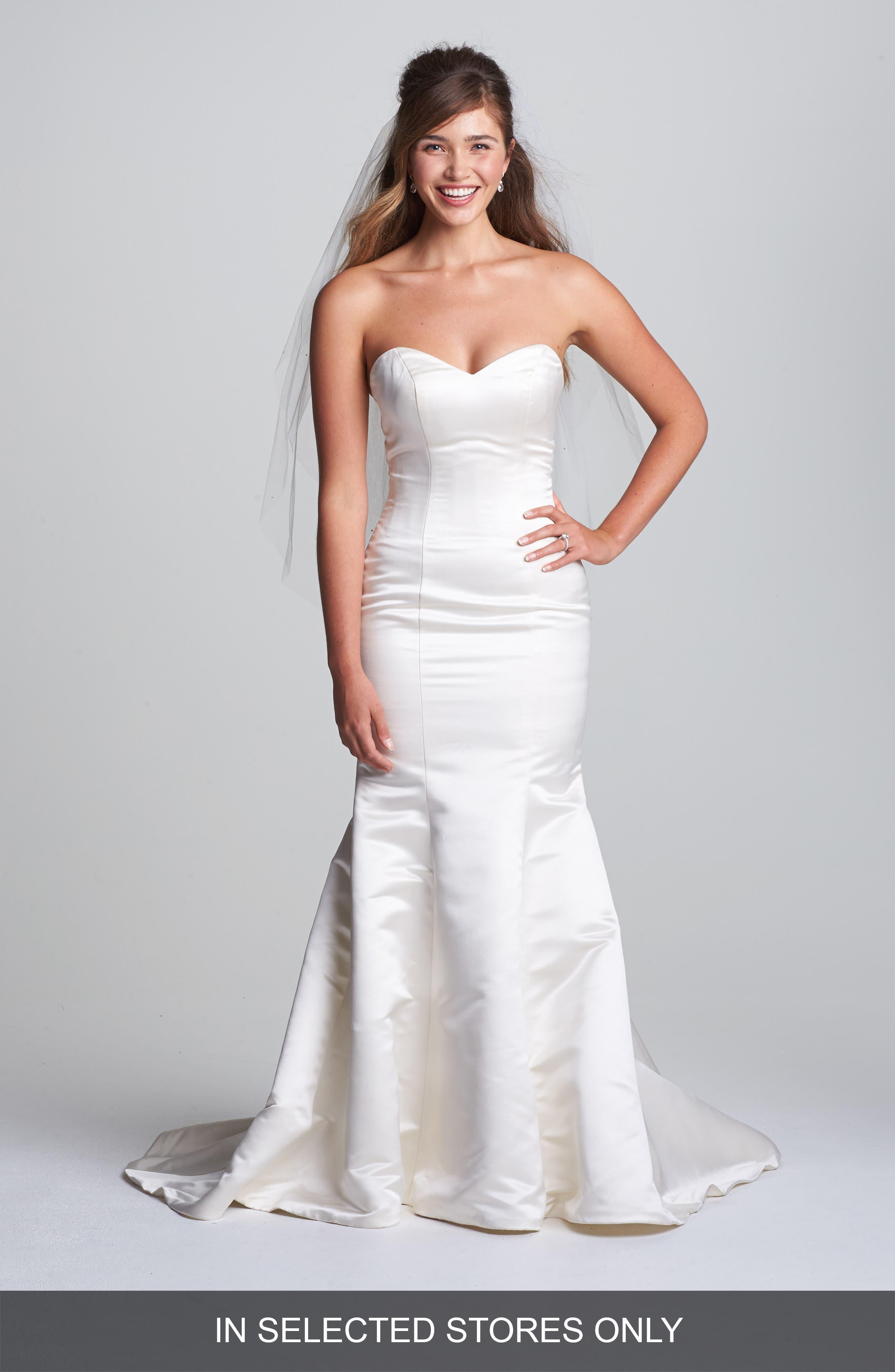 Allie Duchess Silk Trumpet Dress,                         Main,                         color, Ivory