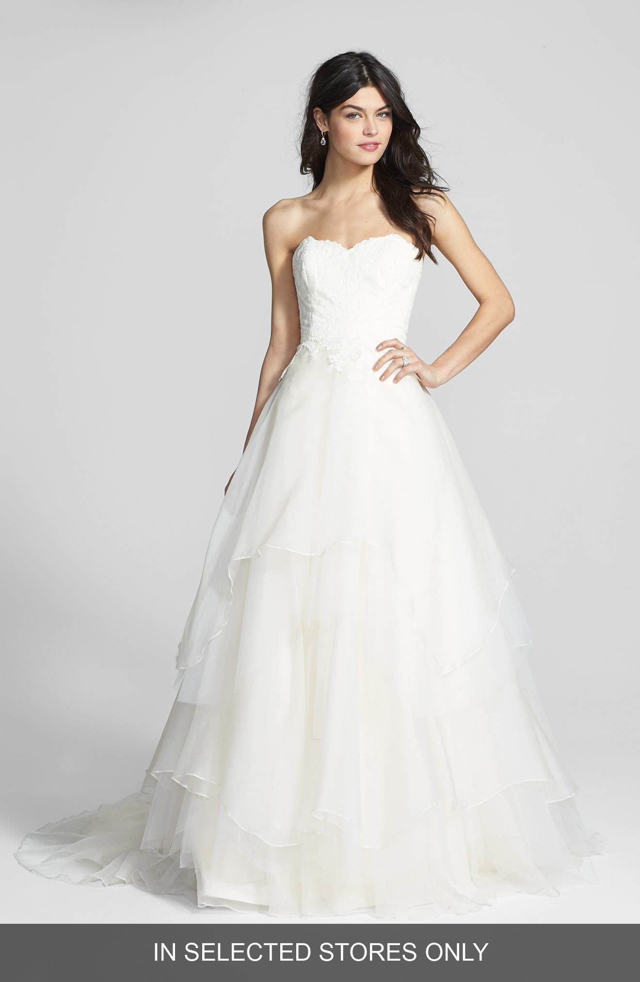 Alternate Image 1 Selected - Hayley Paige Mila Strapless Silk Organza Wedding Dress