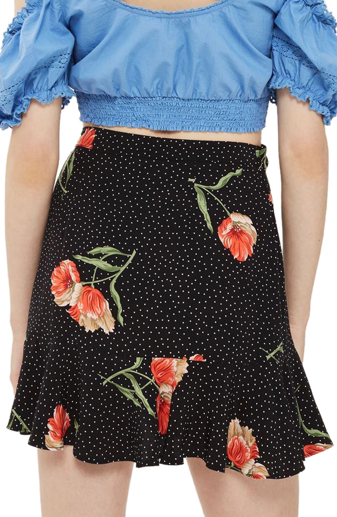 Spot Flower Ruffle Miniskirt,                             Alternate thumbnail 2, color,                             Black Multi