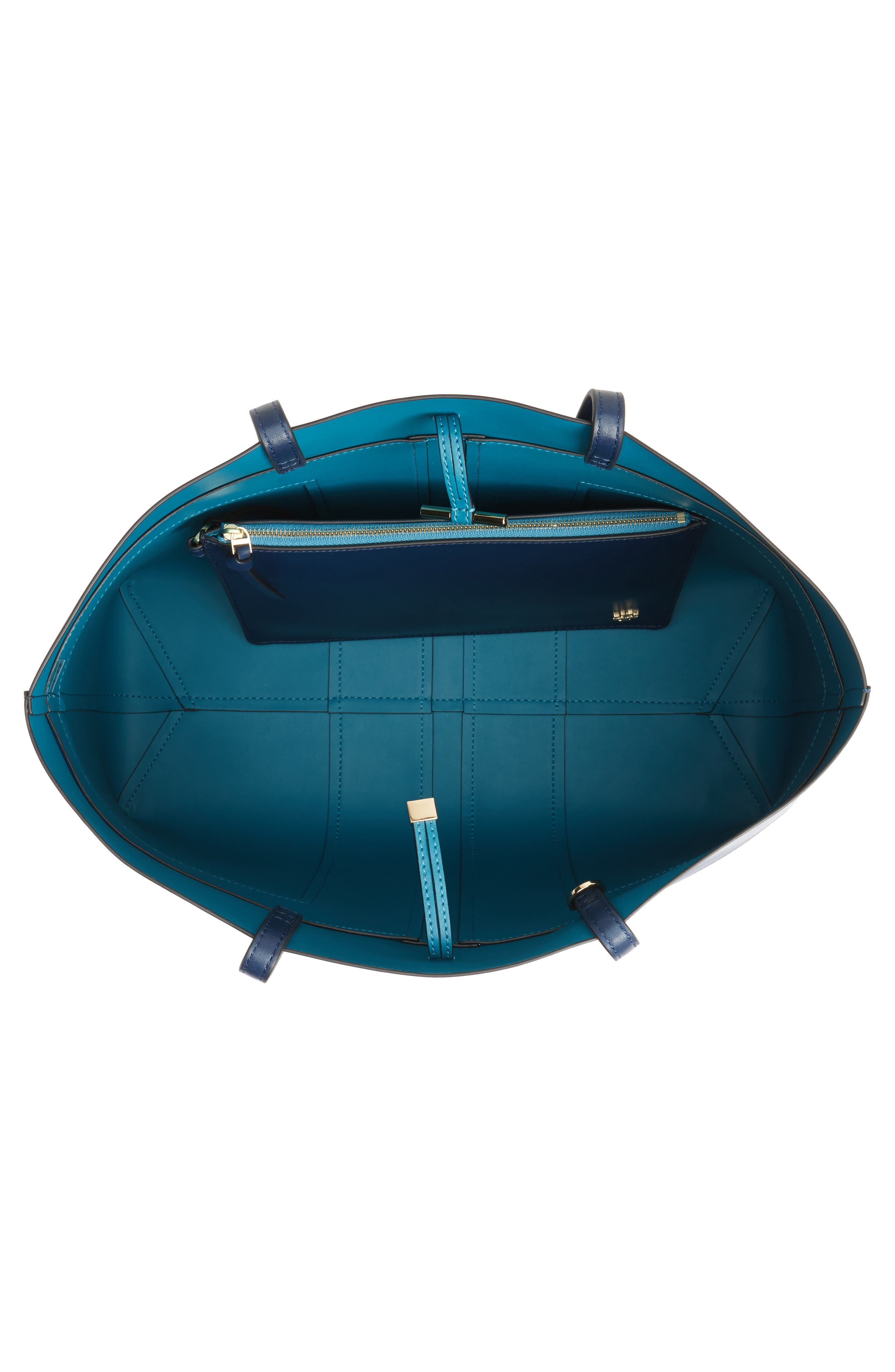 Block T Leather Tote,                             Alternate thumbnail 4, color,                             Royal Navy/ Galleria Blue