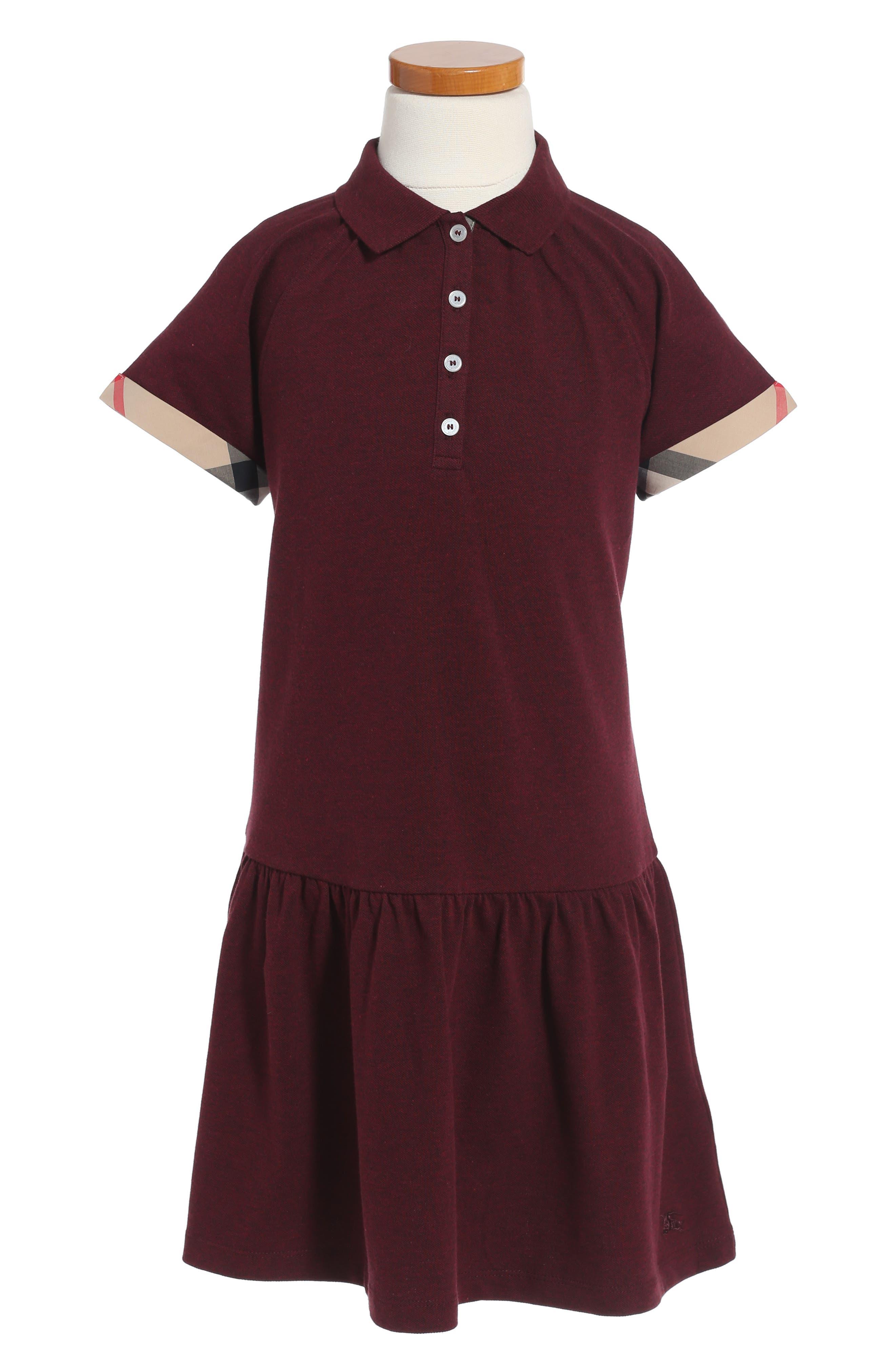 Mini Cali Polo Dress,                         Main,                         color, Burgunday Melange