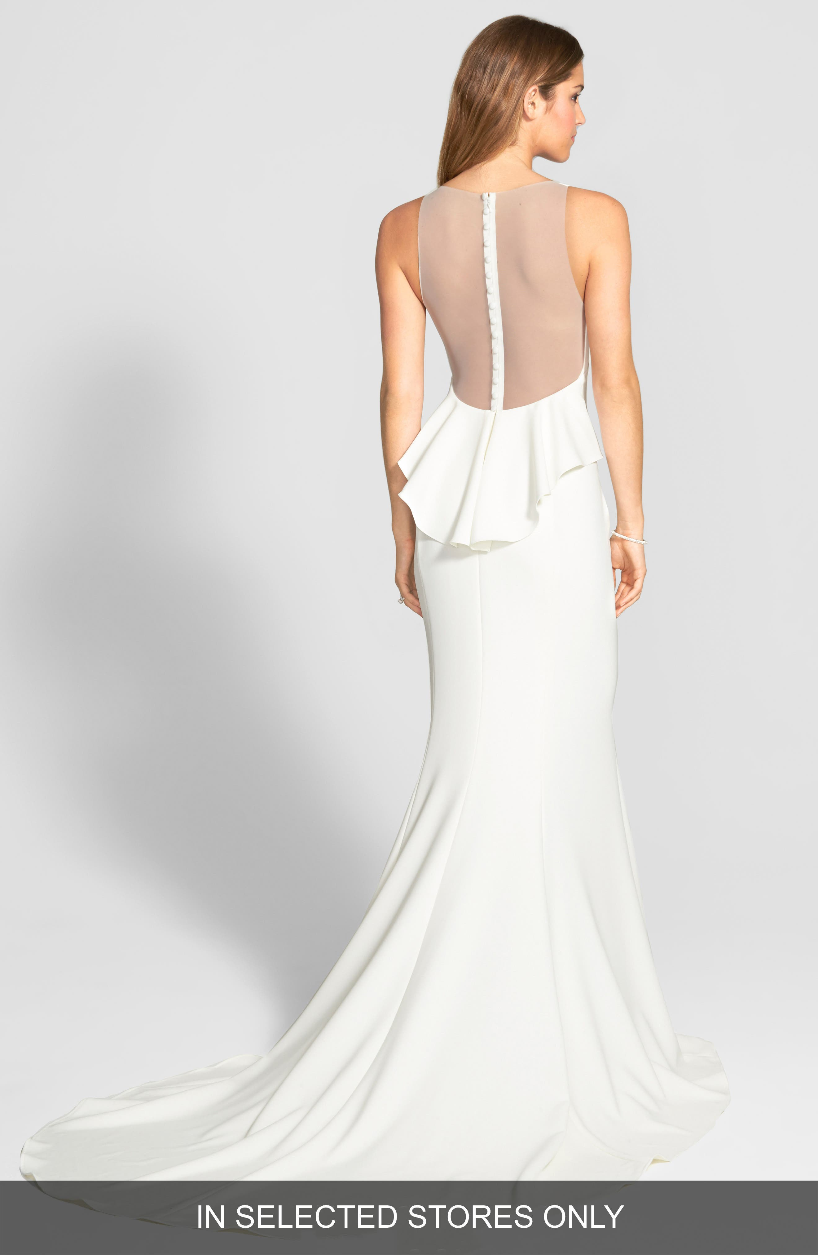 AMSALE Back Detail Flared Silk Crepe Gown in Ivory
