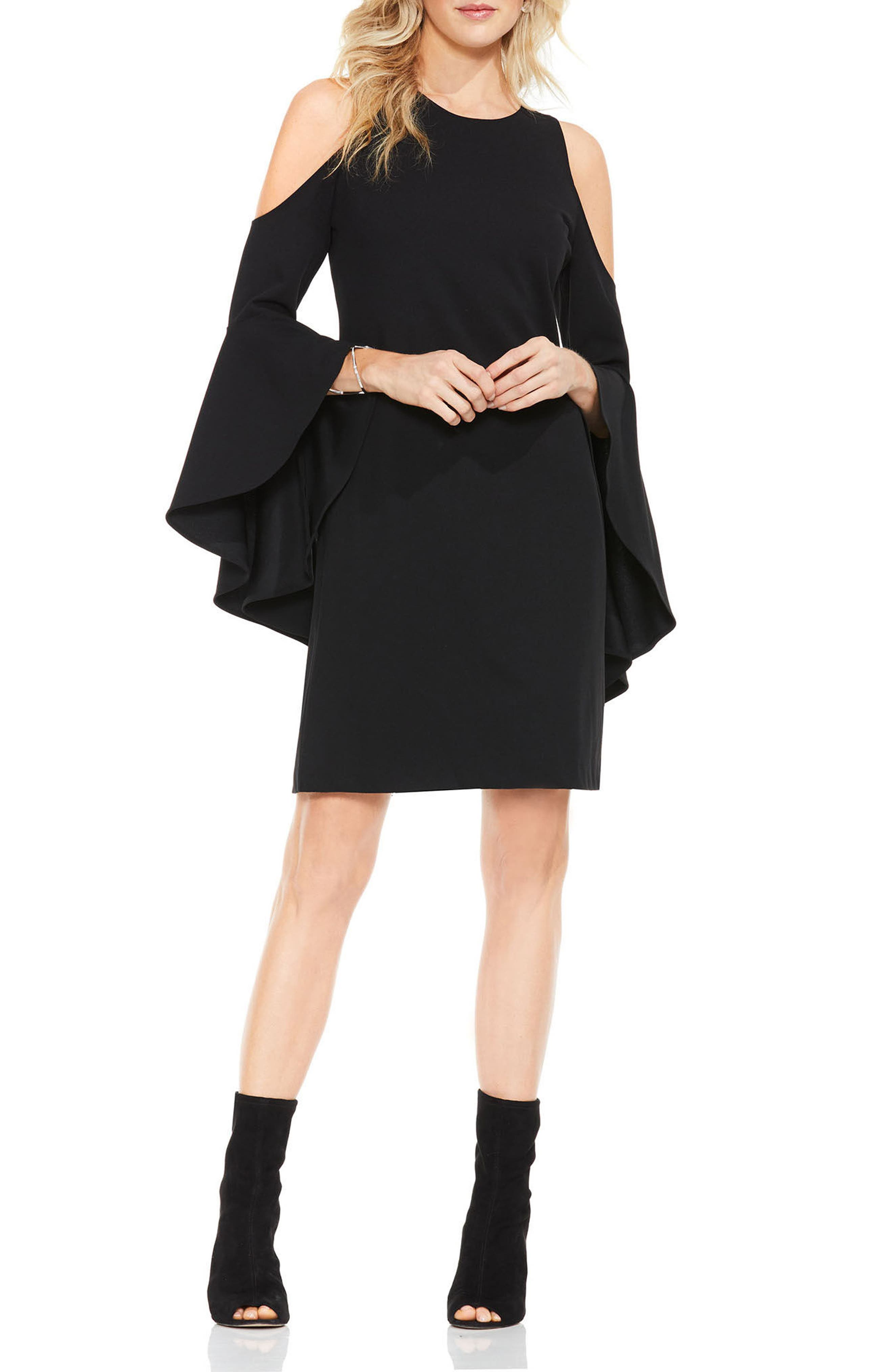 Cold Shoulder Shift Dress,                             Main thumbnail 1, color,                             Rich Black