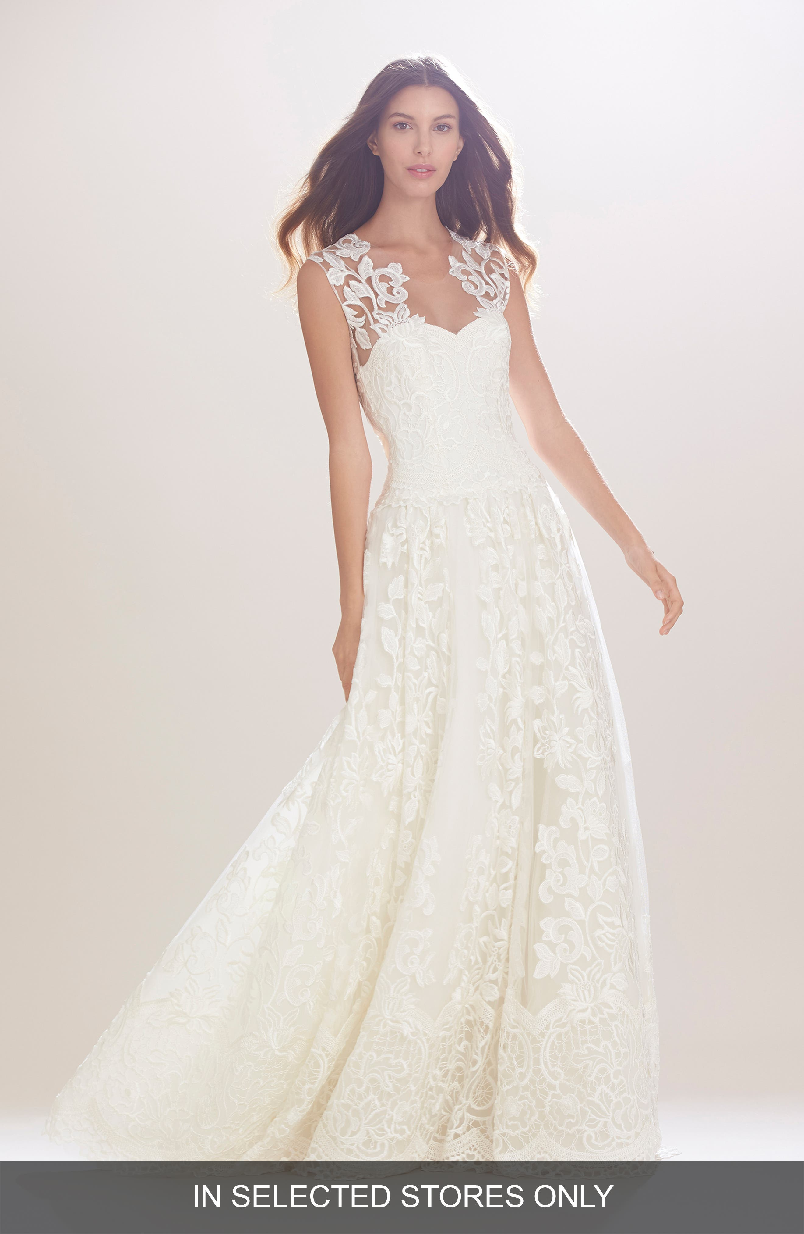 Carolina Herrera Madeline Embroidered Illusion A-Line Gown