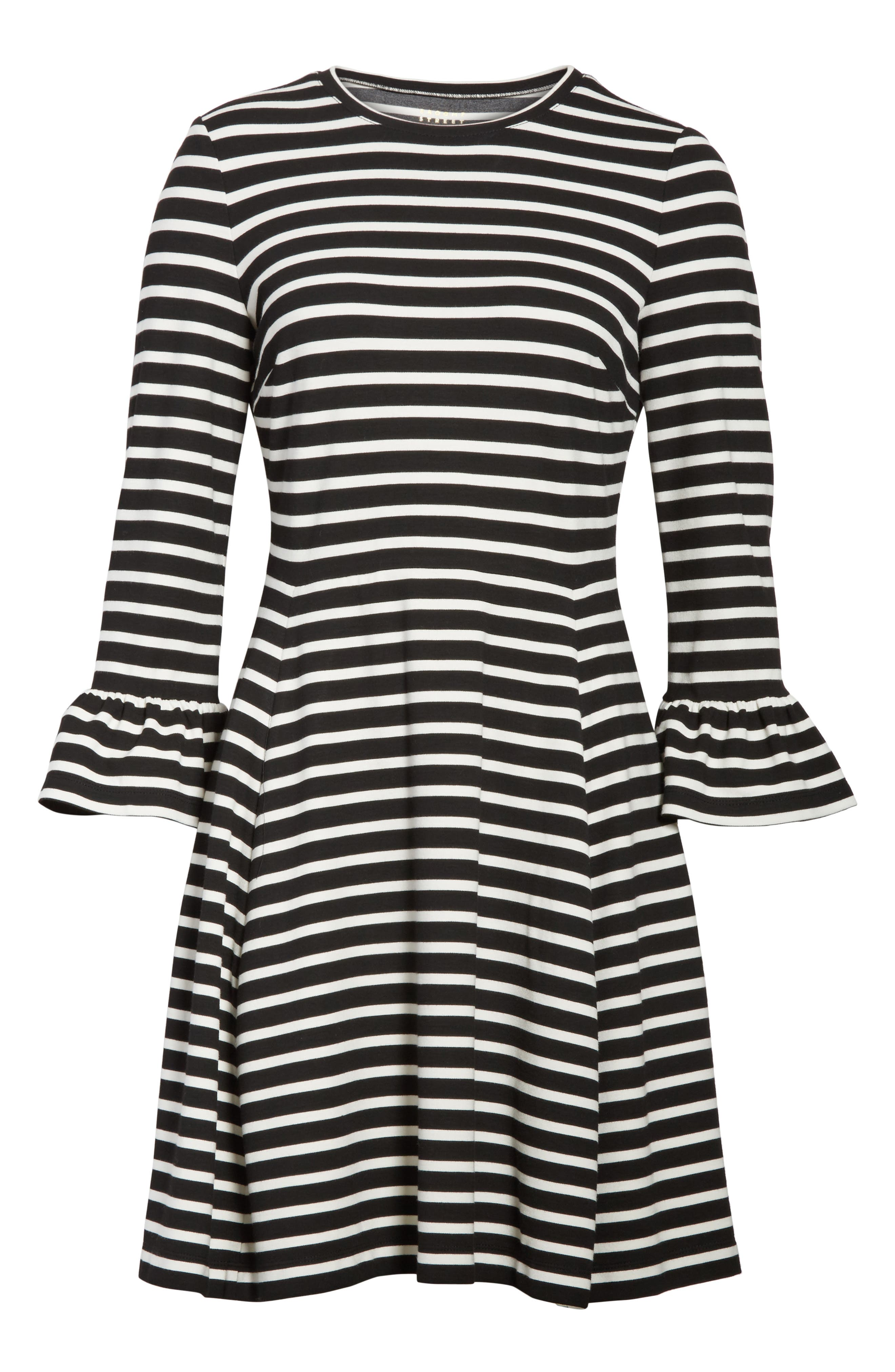 stripe fit-and-flare dress,                             Alternate thumbnail 6, color,                             Ivory