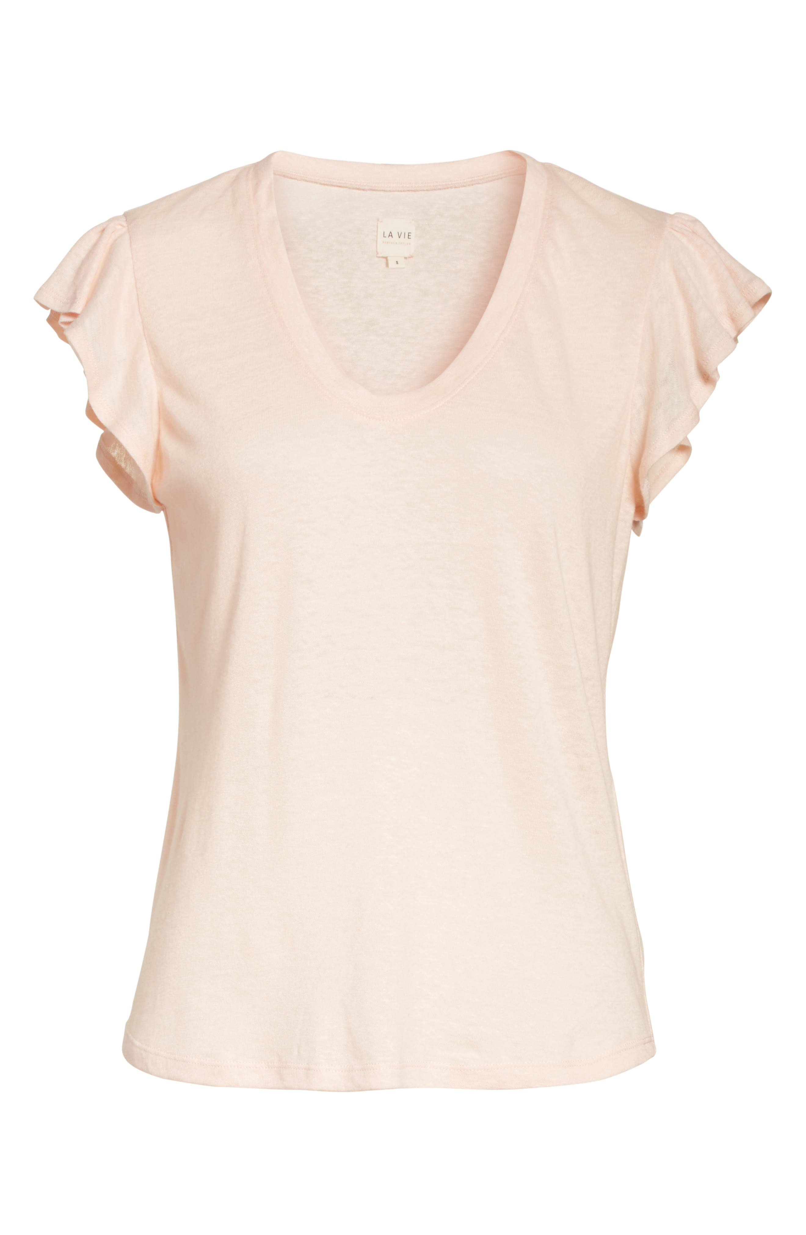 Alternate Image 6  - La Vie Rebecca Taylor Ruffle Sleeve Washed Jersey Top