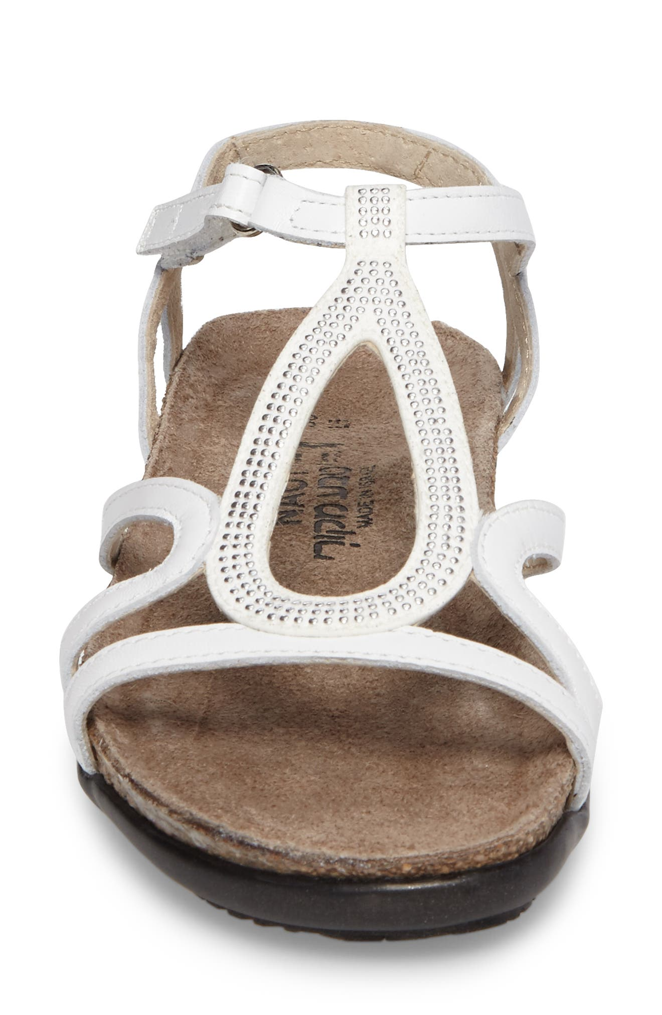 Tamara Studded Strappy Sandal,                             Alternate thumbnail 4, color,                             White Leather