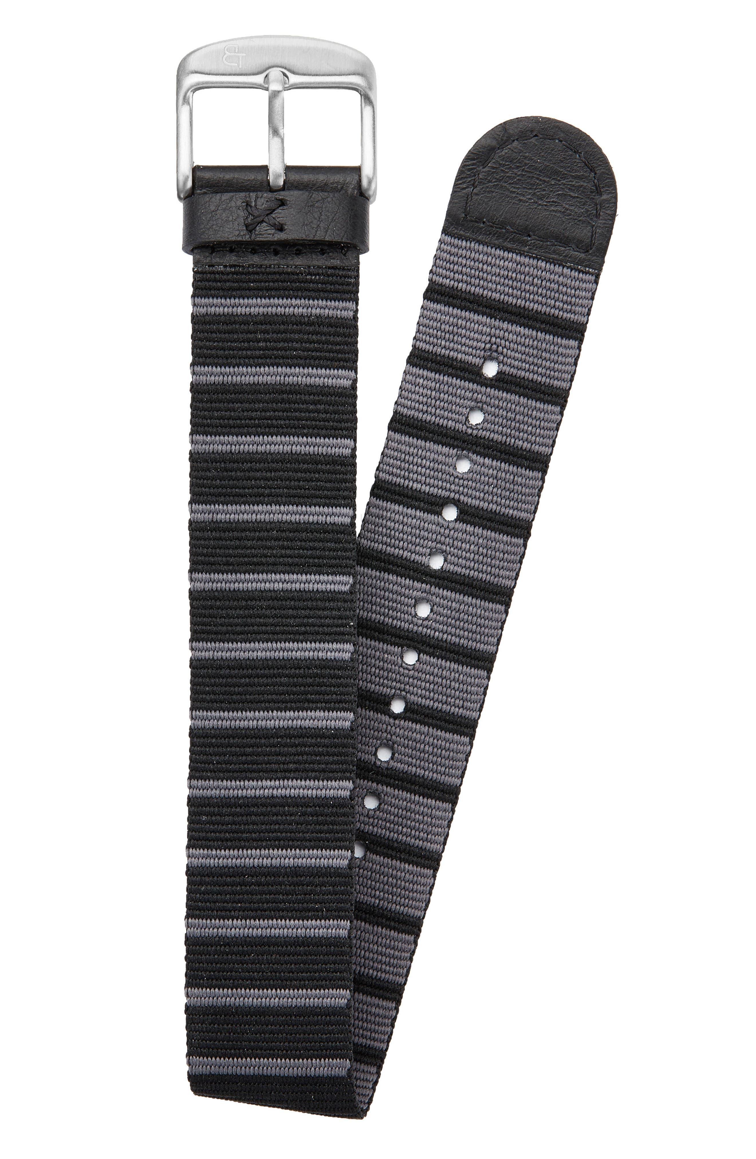 Nylon Watch Strap, 20mm,                         Main,                         color, Black