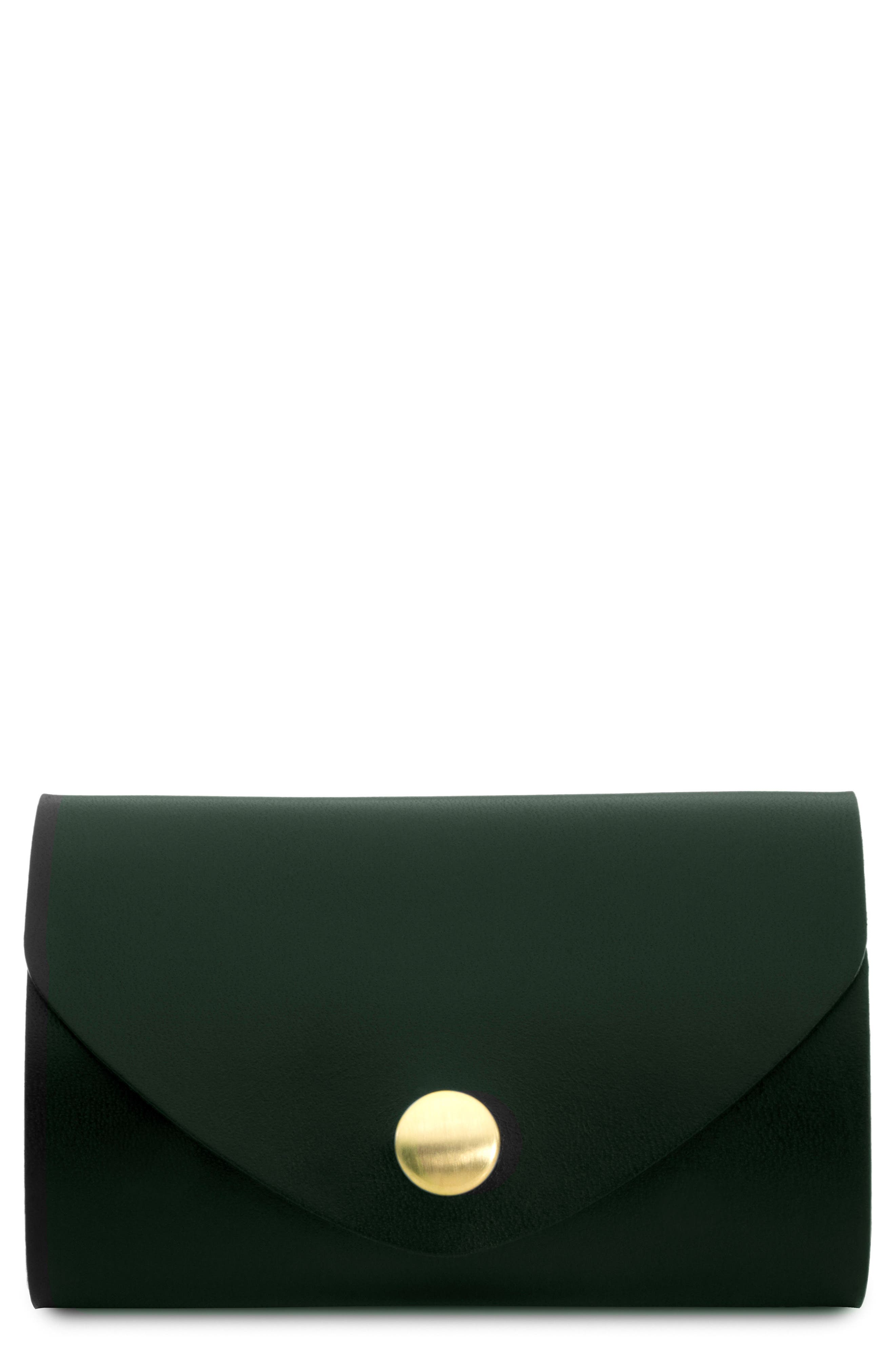Leather Snap Pouch,                             Main thumbnail 1, color,                             Green