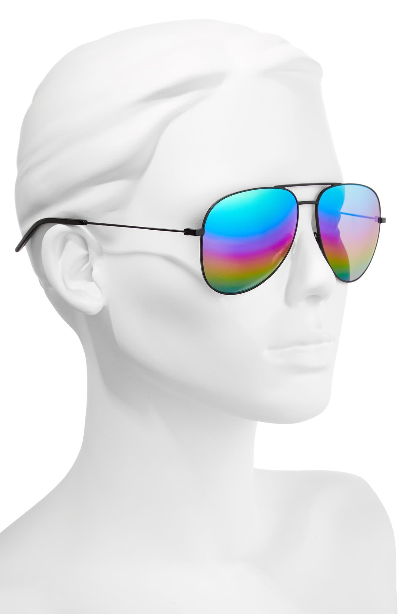 Classic 59mm Aviator Sunglasses,                             Alternate thumbnail 2, color,                             Black/ Multi