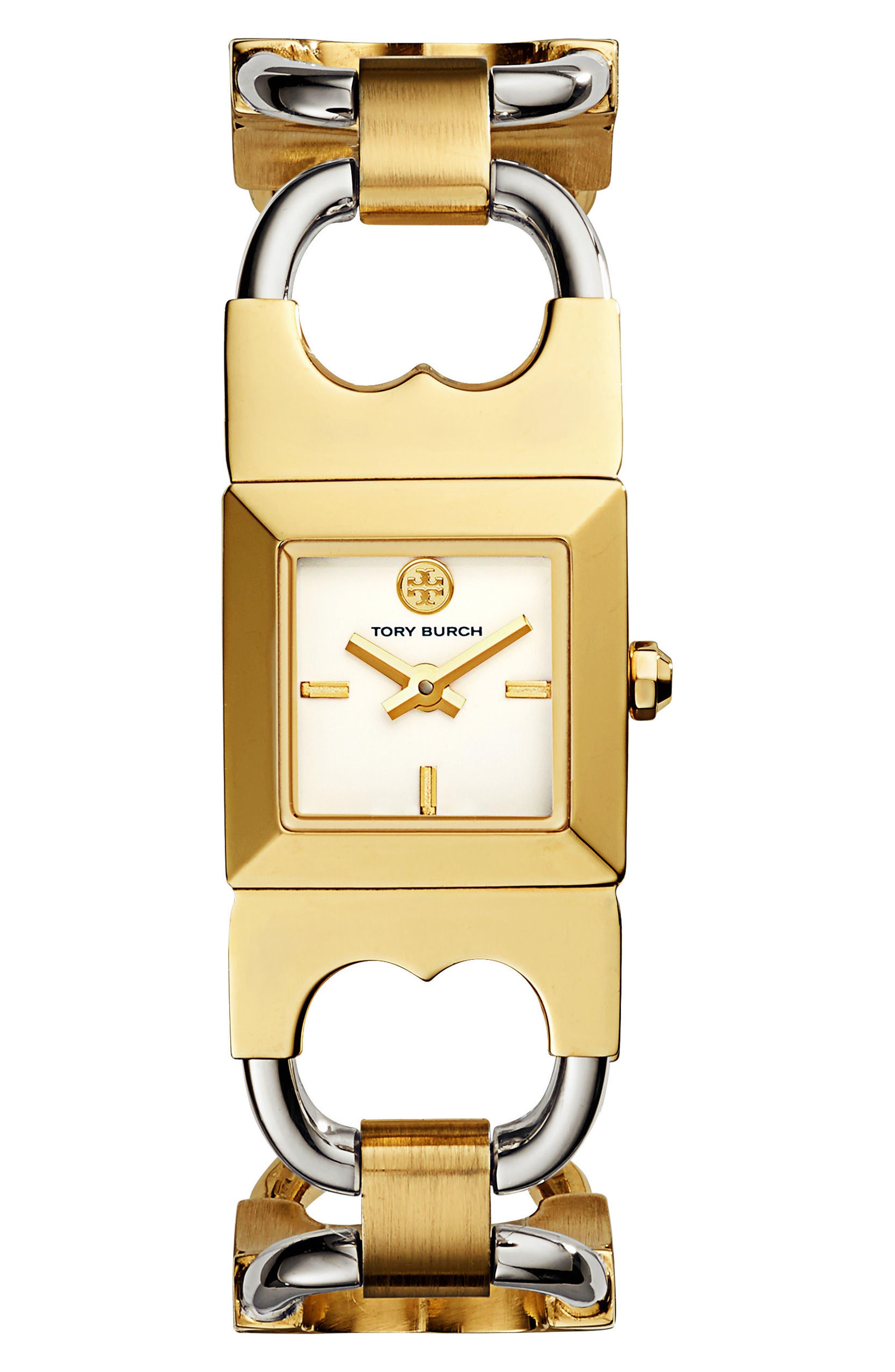 Alternate Image 1 Selected - Tory Burch Double T Link Bracelet Watch, 18mm