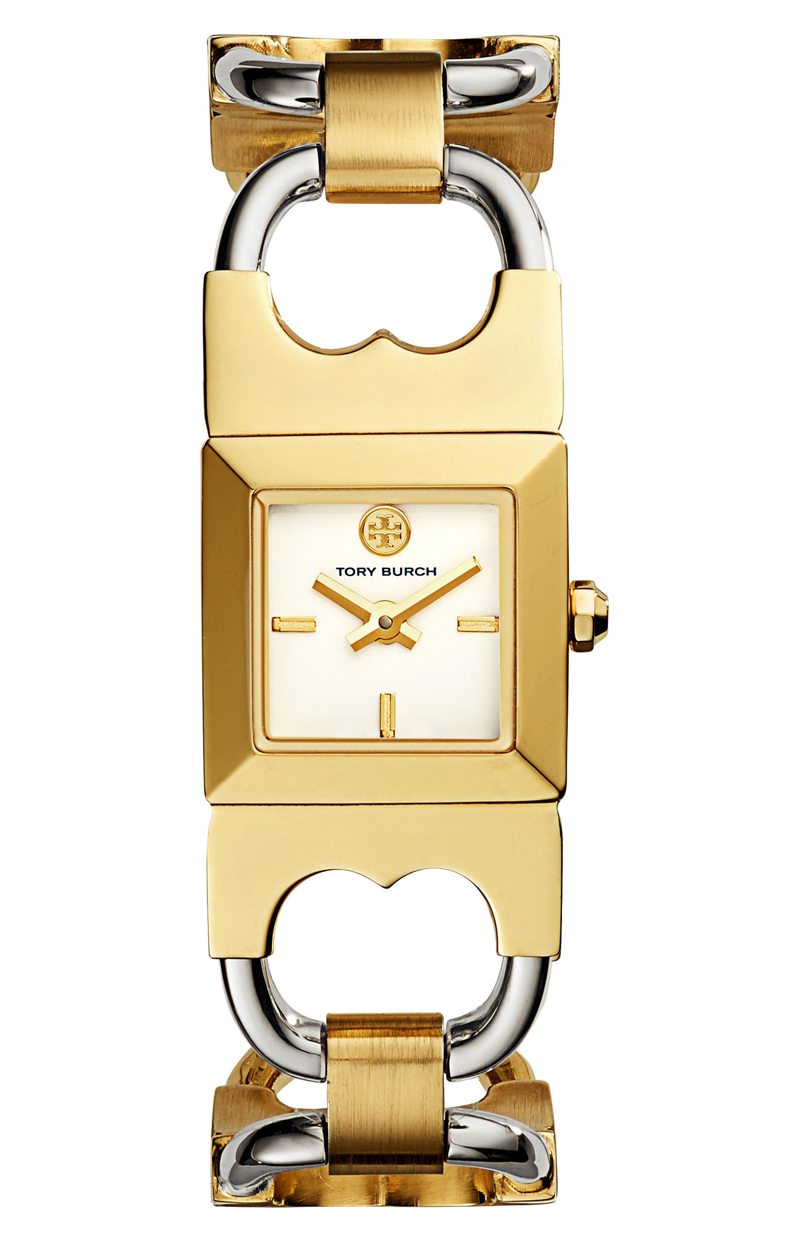 Double T Link Bracelet Watch, 18mm,                         Main,                         color, Gold/ Ivory/ Silver