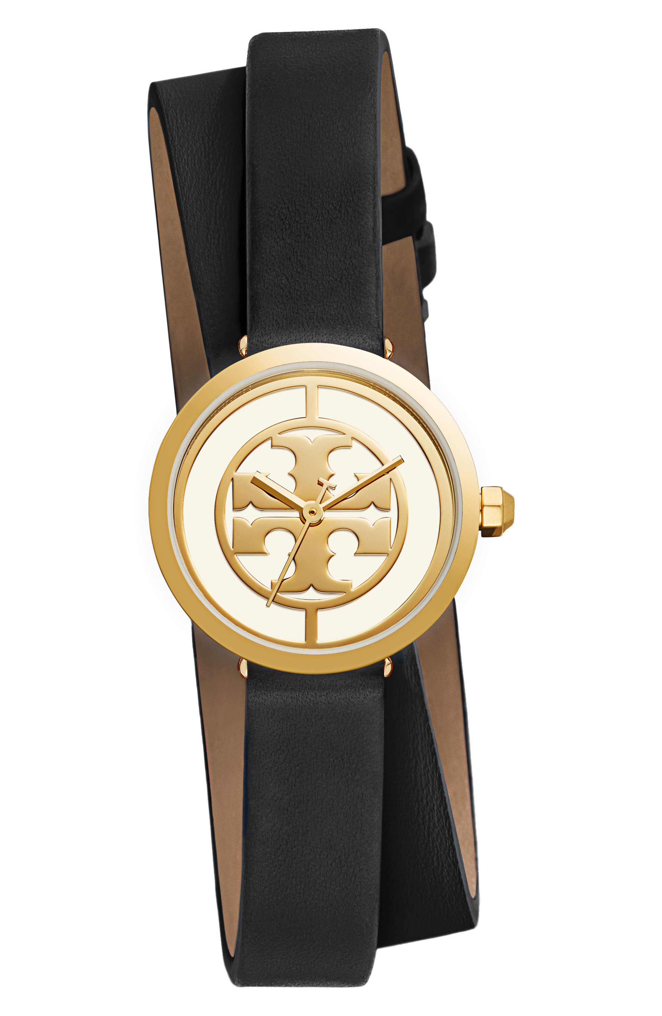Reva Logo Dial Double Wrap Leather Strap Watch, 28mm,                         Main,                         color, Black/ Gold