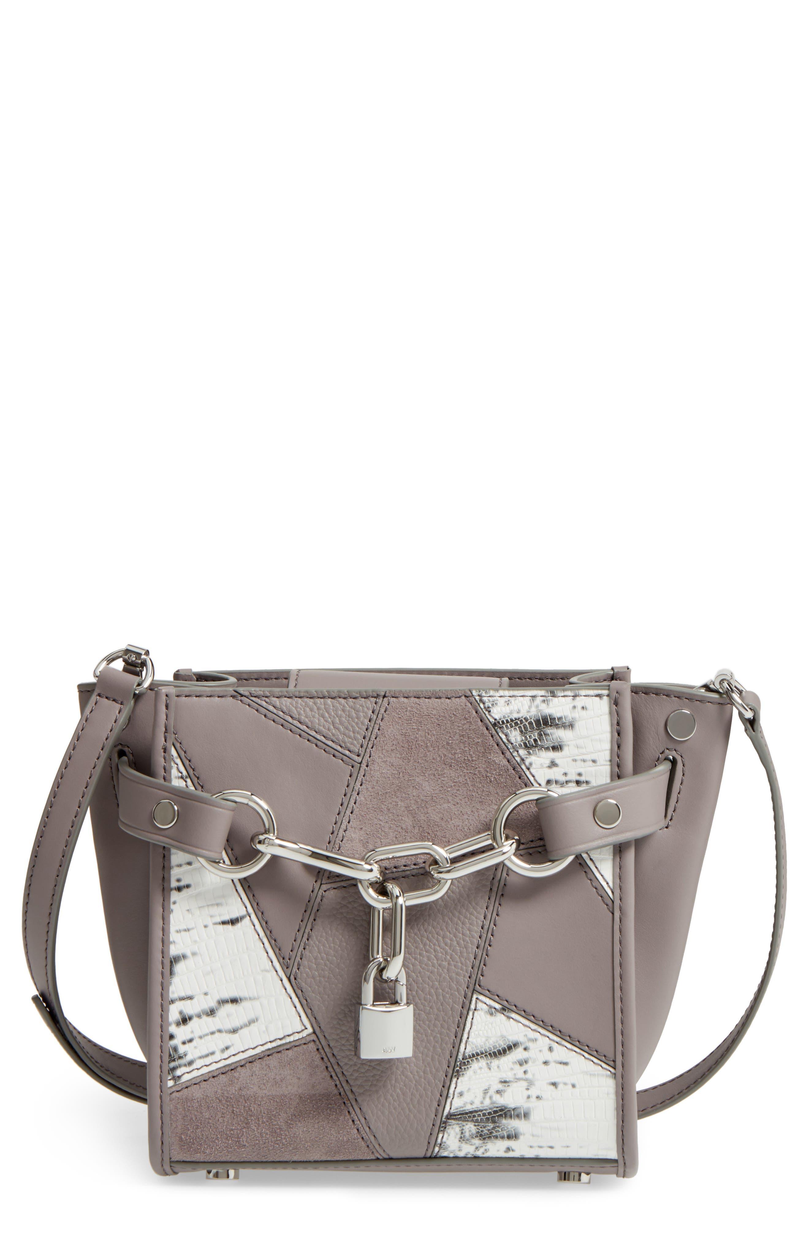 Mini Attica Patchwork Leather Satchel,                         Main,                         color, Grey Multi