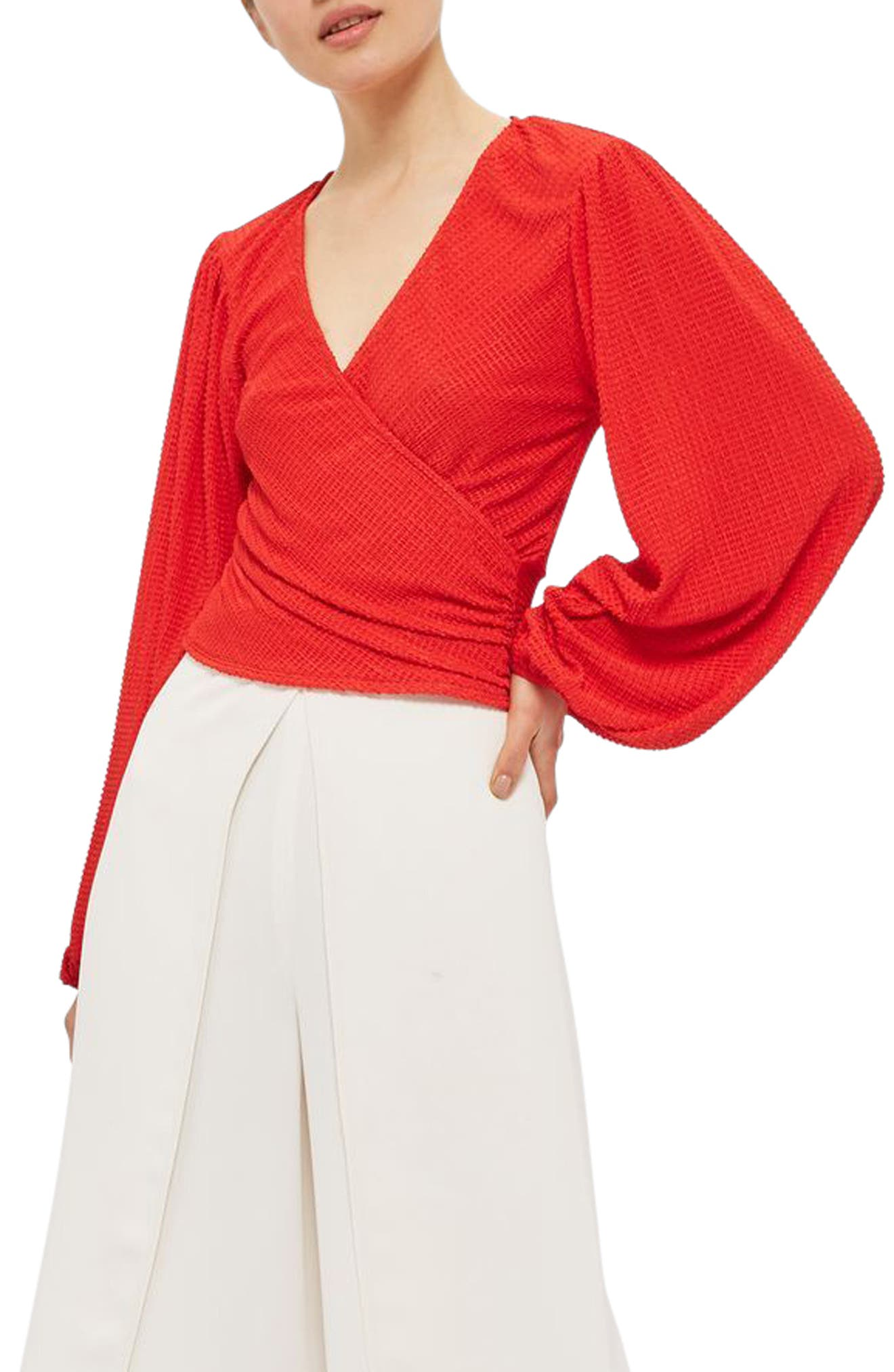 Blouson Sleeve Textured Wrap Top,                             Main thumbnail 1, color,                             Red